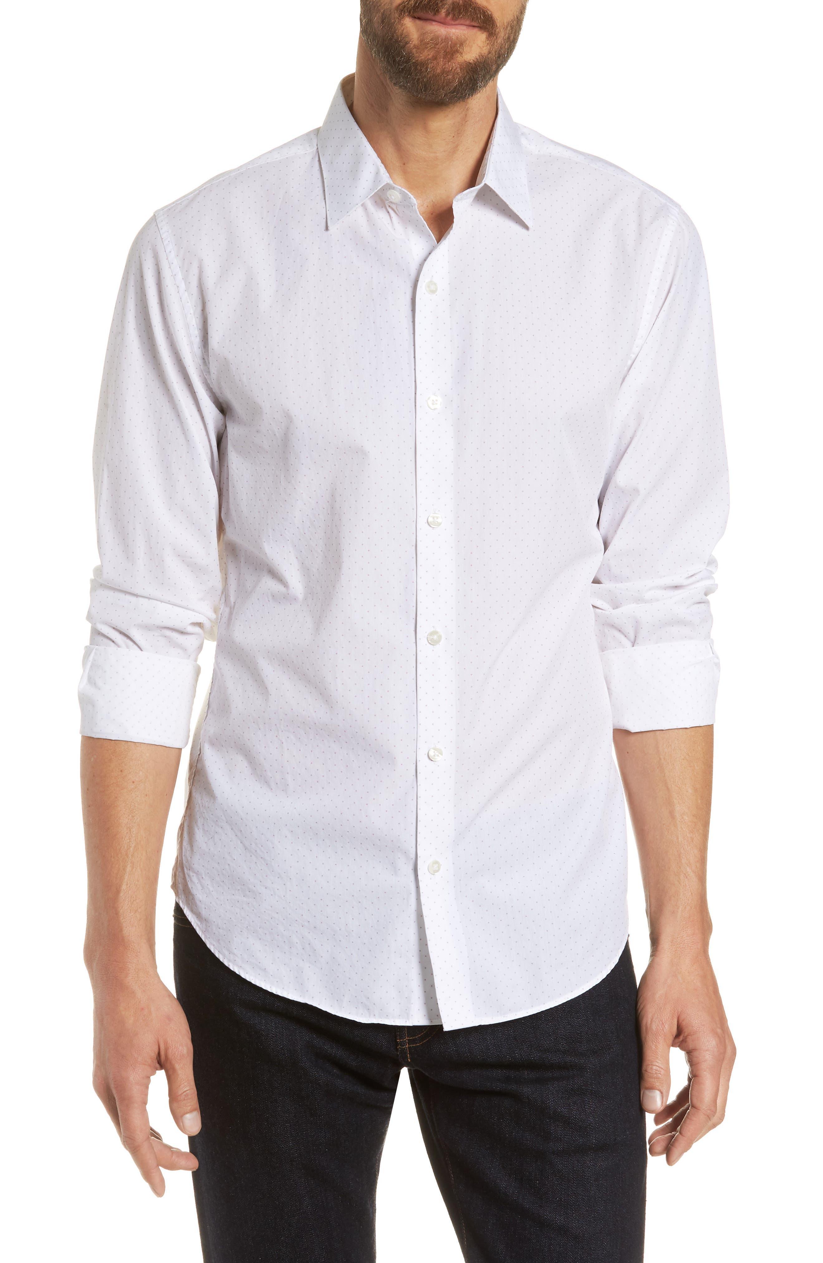 Unbutton Down Slim Fit Dot Sport Shirt,                             Main thumbnail 1, color,                             100
