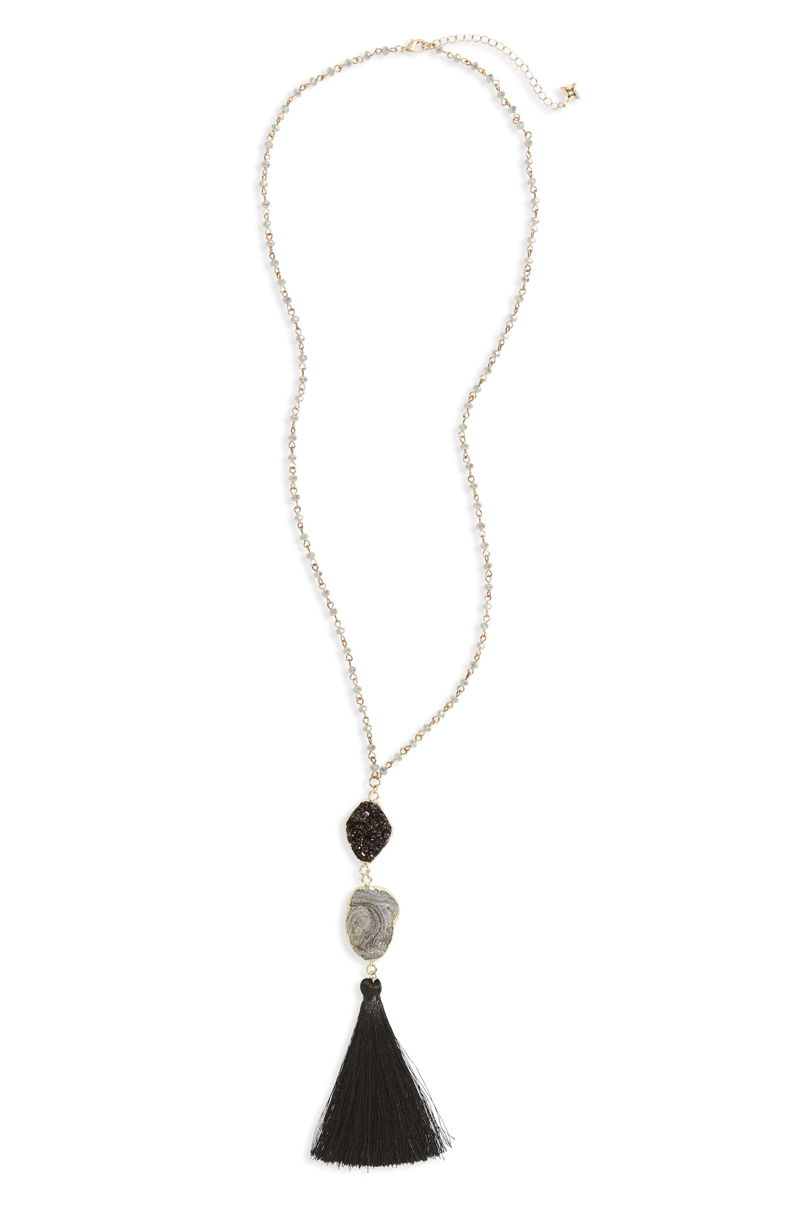 Drusy Tassel Pendant Necklace,                         Main,                         color, 020