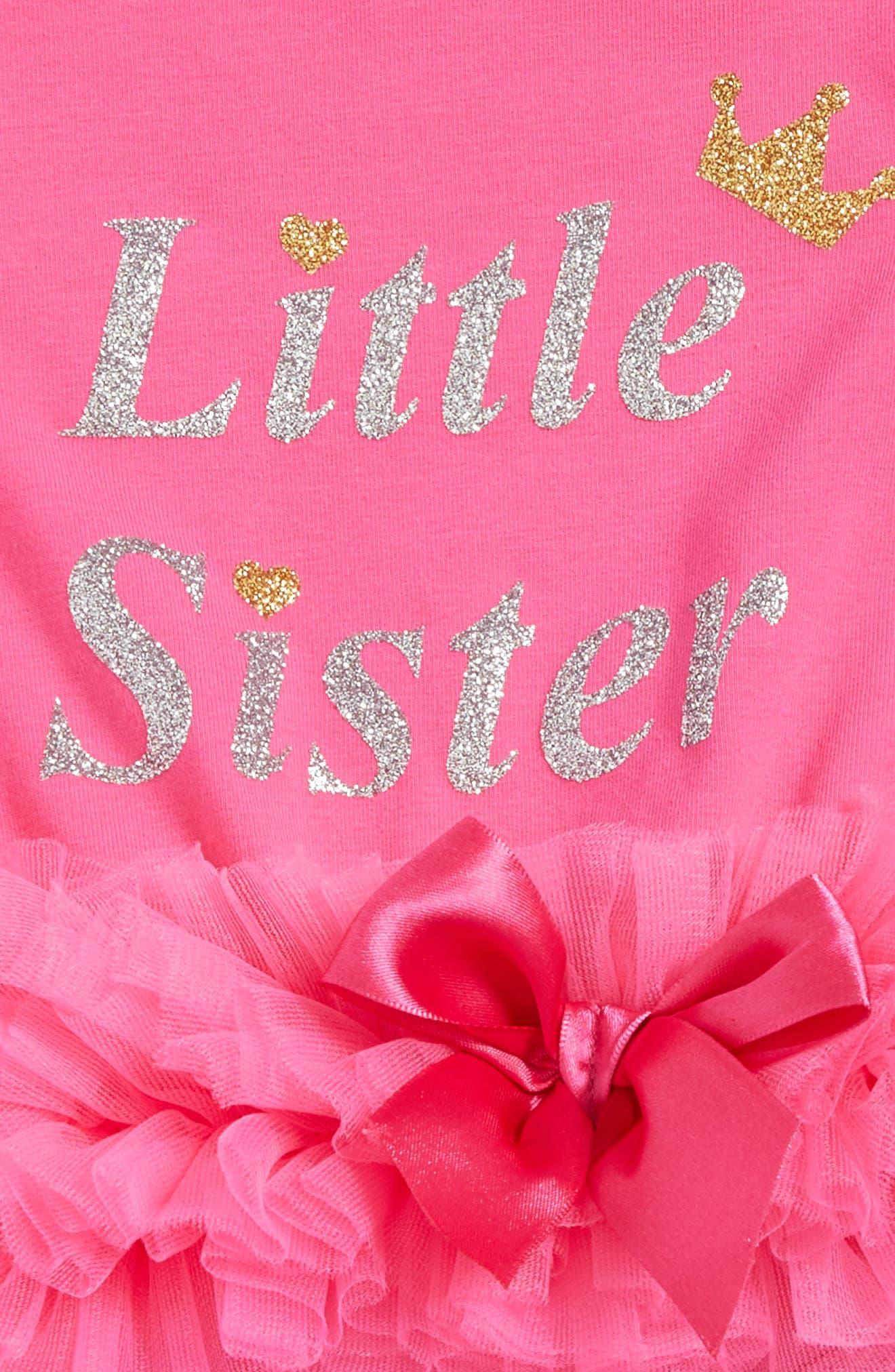 Little Sister Skirted Bodysuit,                             Alternate thumbnail 2, color,                             HOT PINK