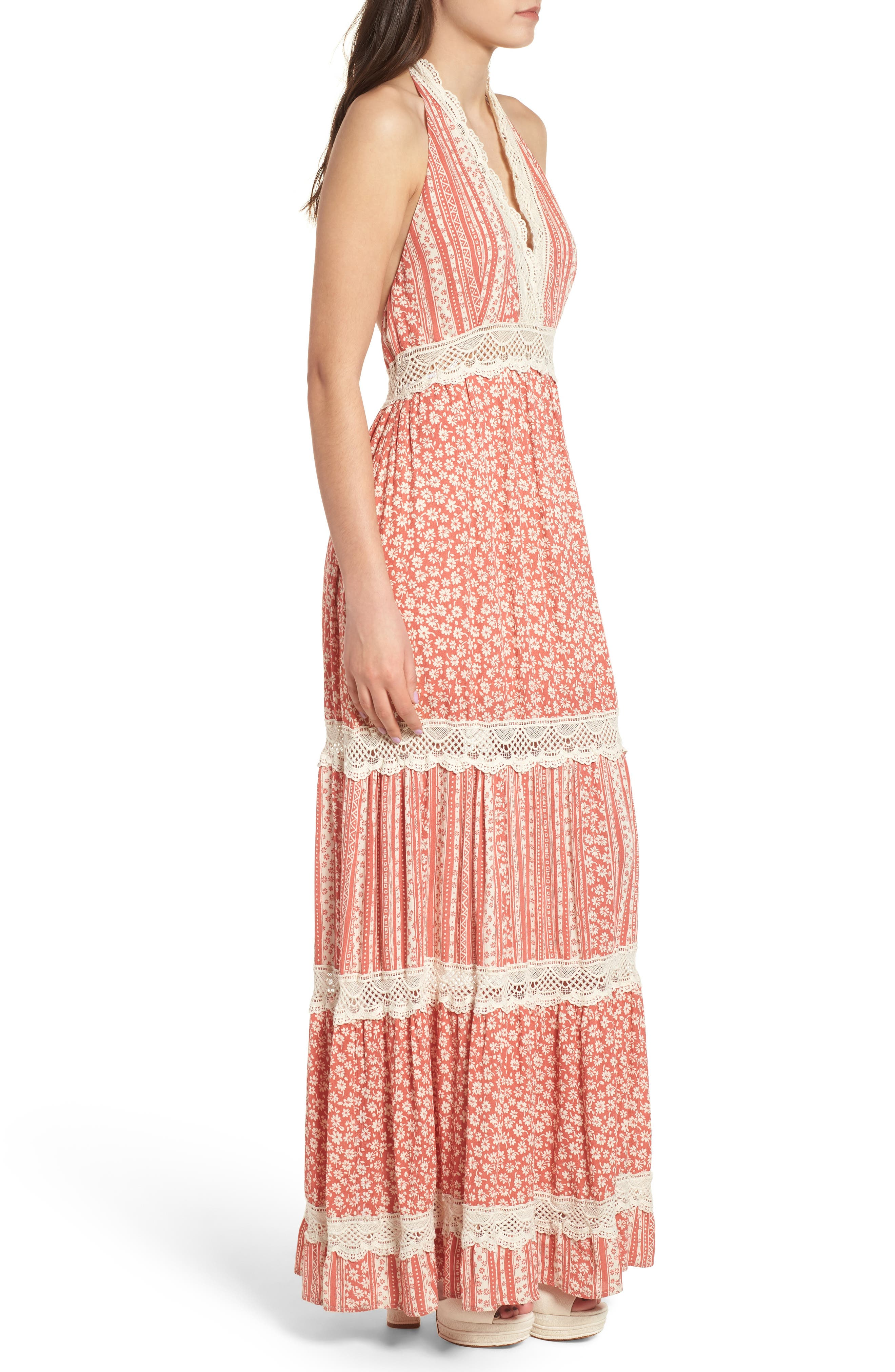 Sun's Out Halter Maxi Dress,                             Alternate thumbnail 3, color,                             951