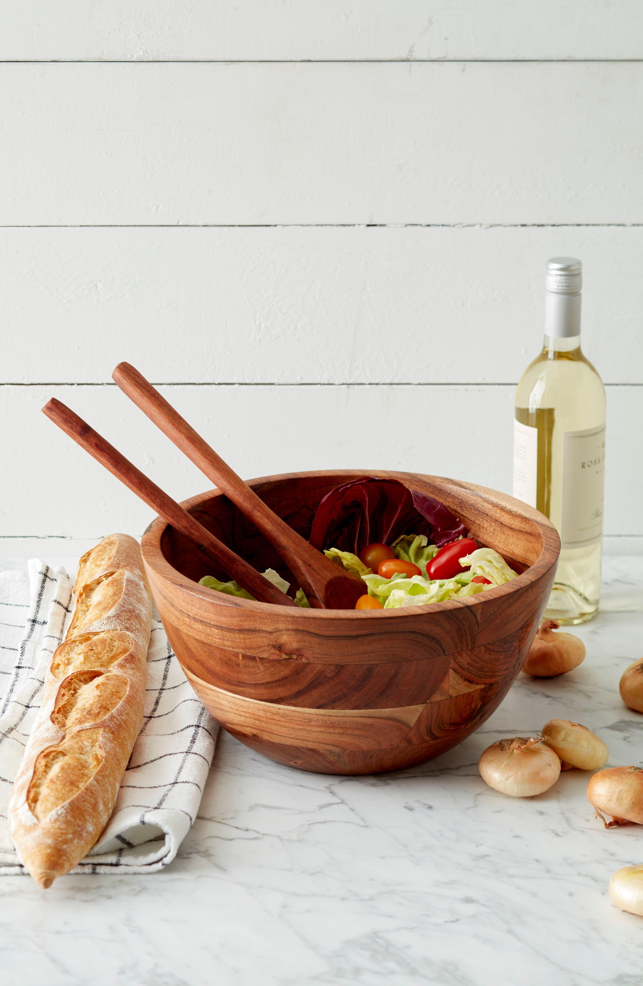 Medium Wood Salad Bowl,                             Alternate thumbnail 3, color,                             200