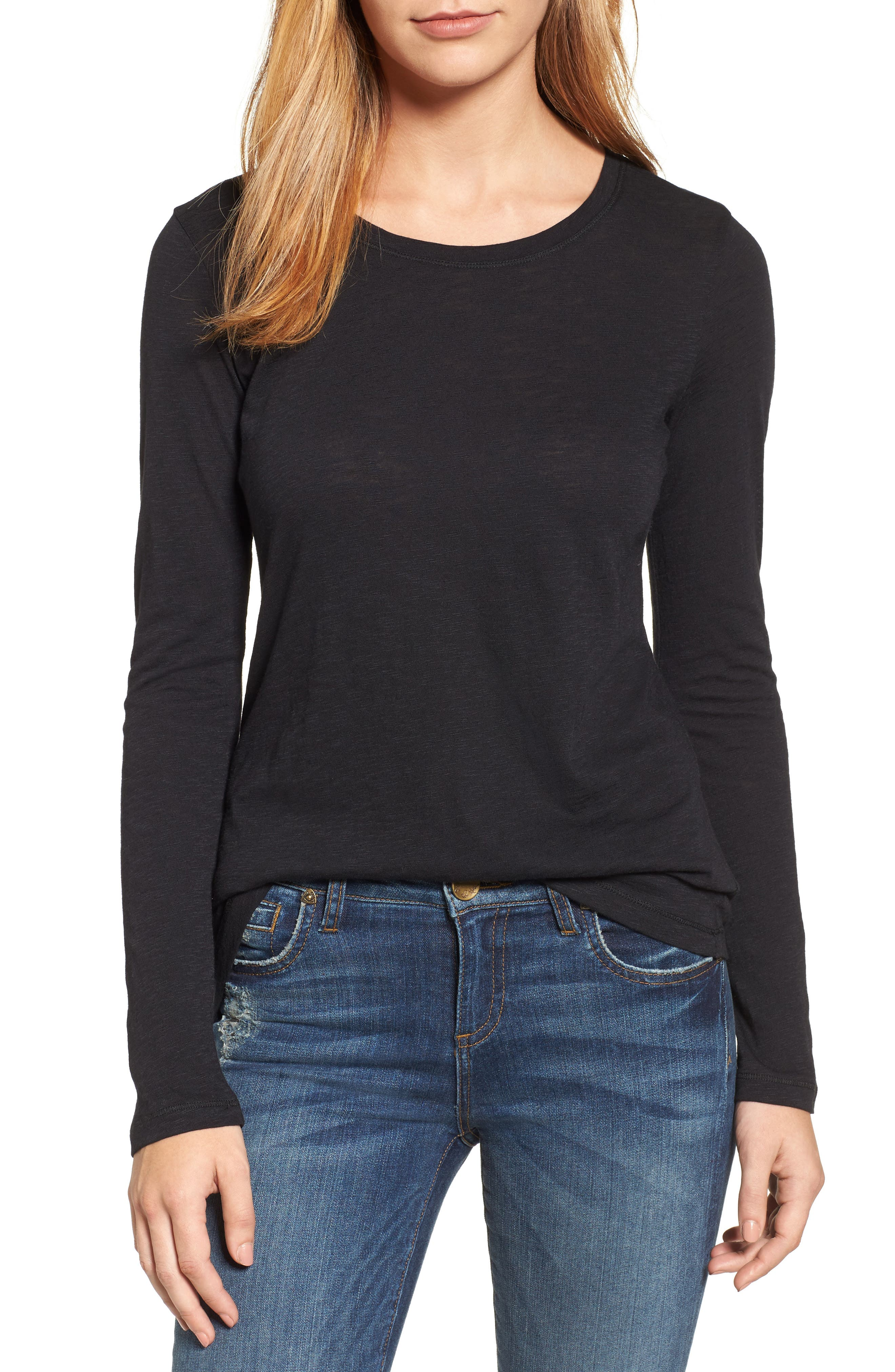 CASLON<SUP>®</SUP>,                             Long Sleeve Crewneck Tee,                             Main thumbnail 1, color,                             BLACK