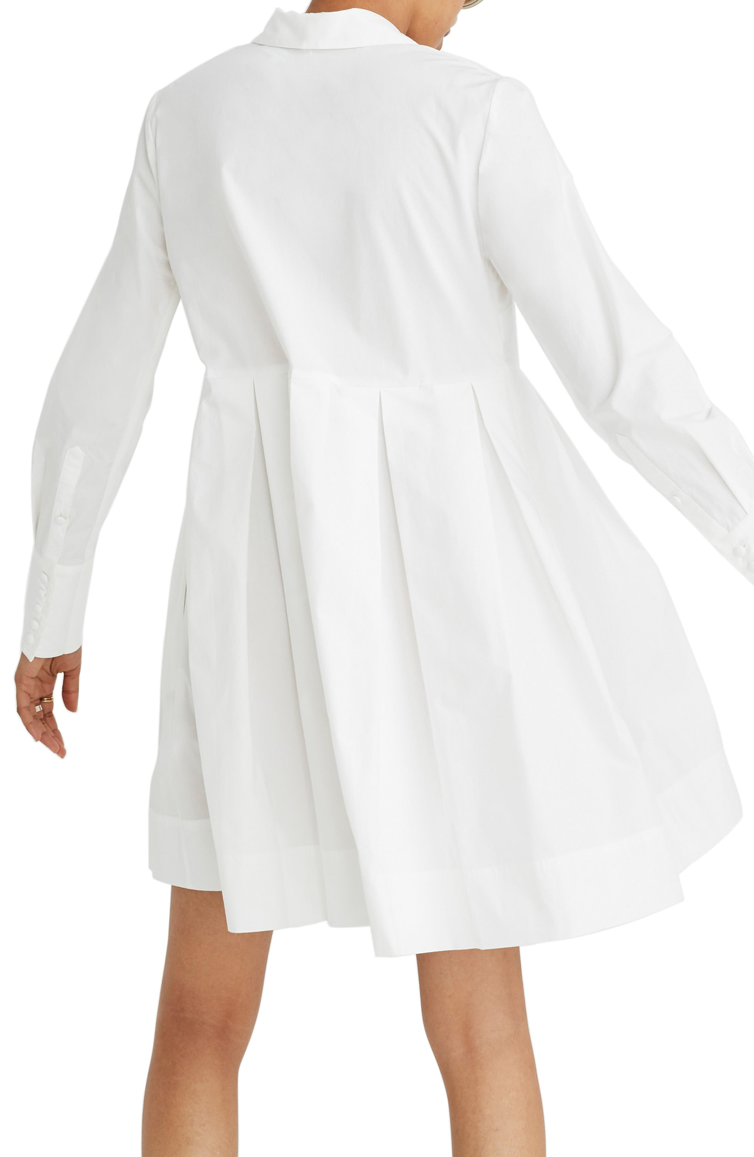 Box Pleat Shirtdress,                             Alternate thumbnail 2, color,                             WHITE WASH