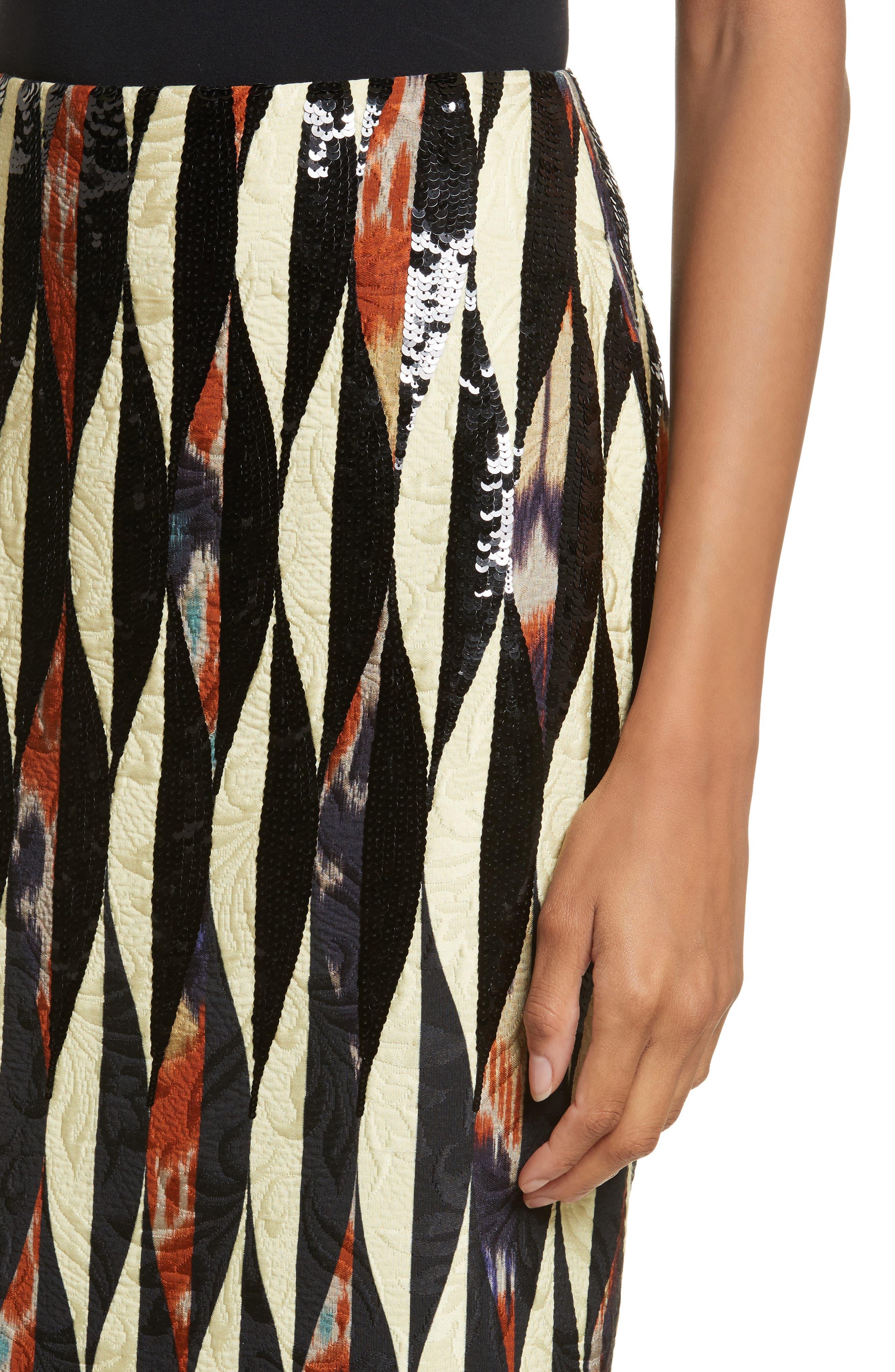 Embroidered Ikat Midi Skirt,                             Alternate thumbnail 4, color,                             800