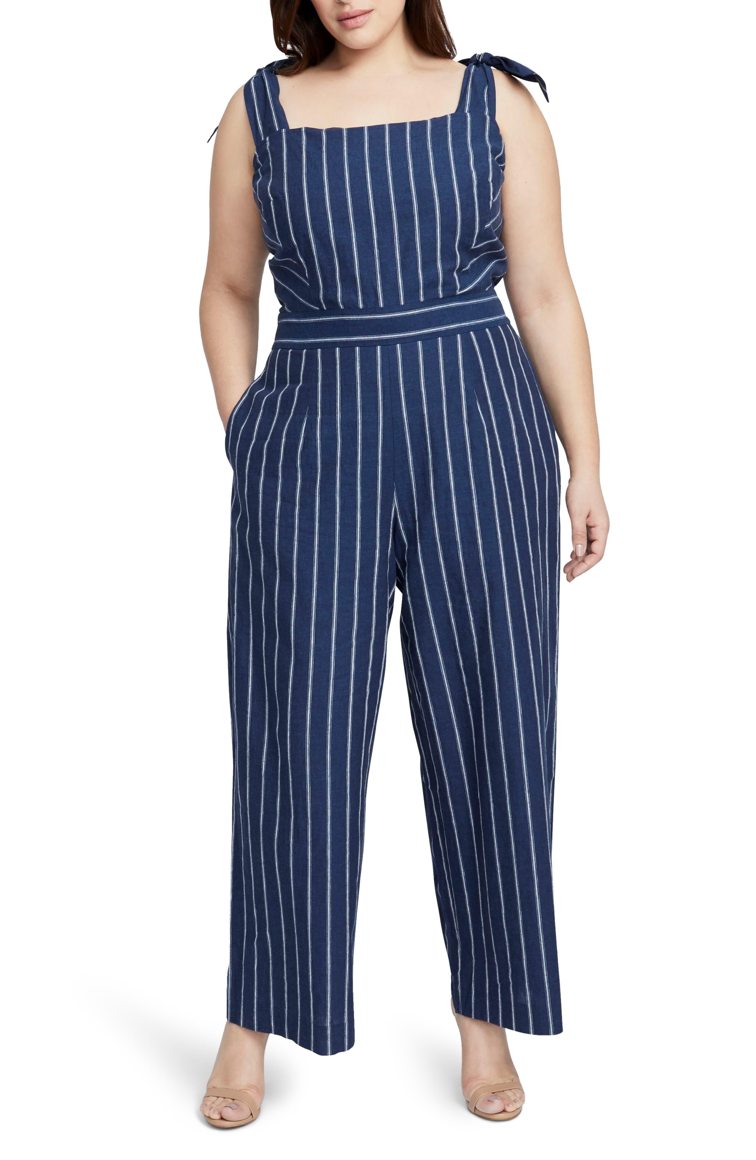 Stripe Linen & Cotton Jumpsuit,                             Main thumbnail 1, color,                             INDIGO EGGSHELL COMBO