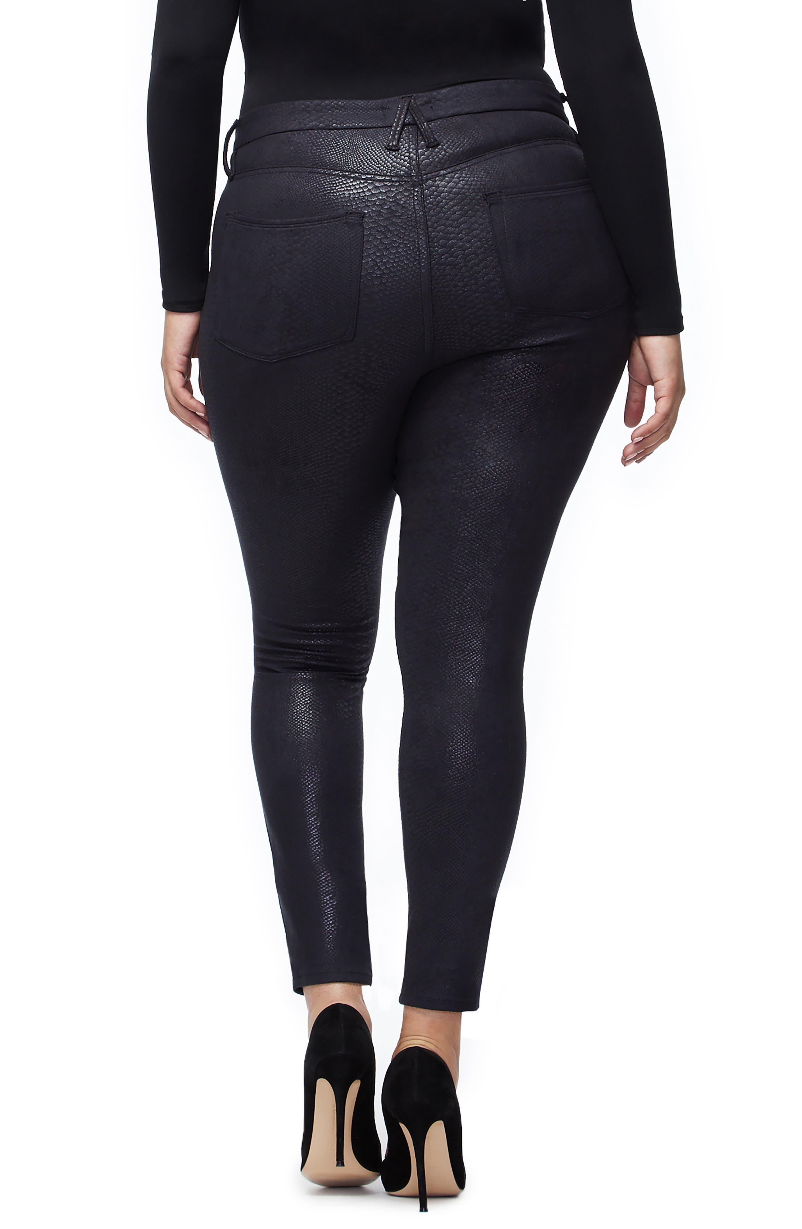 GOOD AMERICAN,                             Good Legs Metallic Snake Print Skinny Jeans,                             Alternate thumbnail 7, color,                             BLACK041
