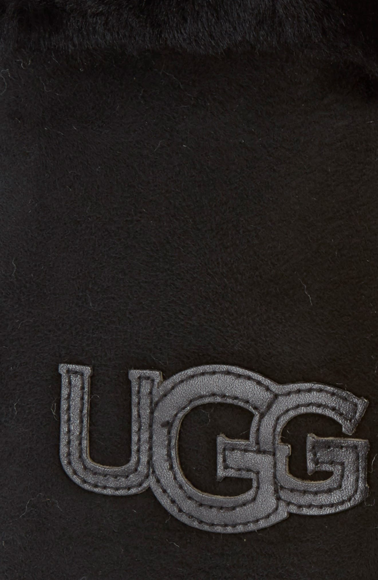 UGG<SUP>®</SUP>,                             Australia 'Heritage Logo' Genuine Shearling & Suede Mittens,                             Alternate thumbnail 3, color,                             001