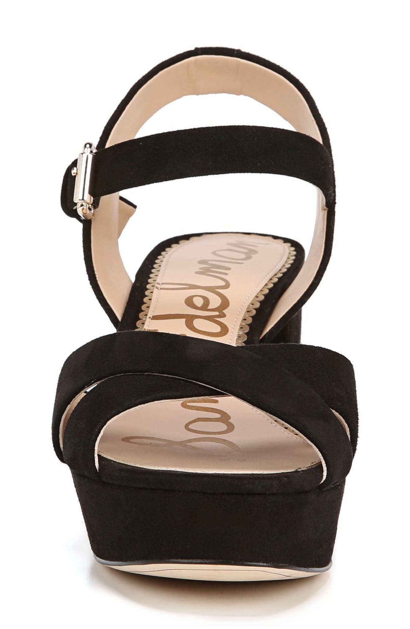 Jolene Platform Sandal,                             Alternate thumbnail 4, color,                             BLACK SUEDE