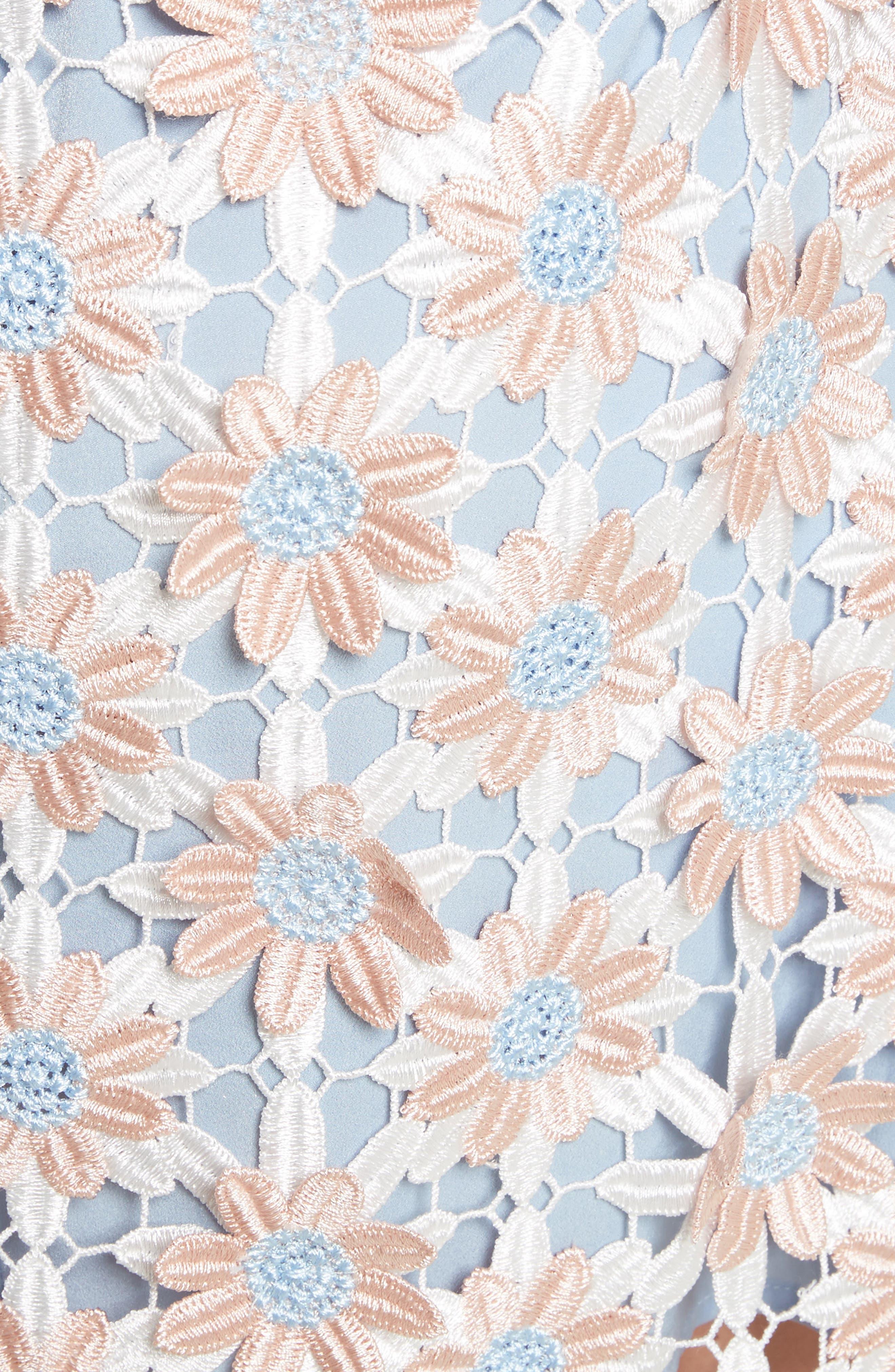 3D Floral Lace Off the Shoulder Midi Dress,                             Alternate thumbnail 5, color,                             650