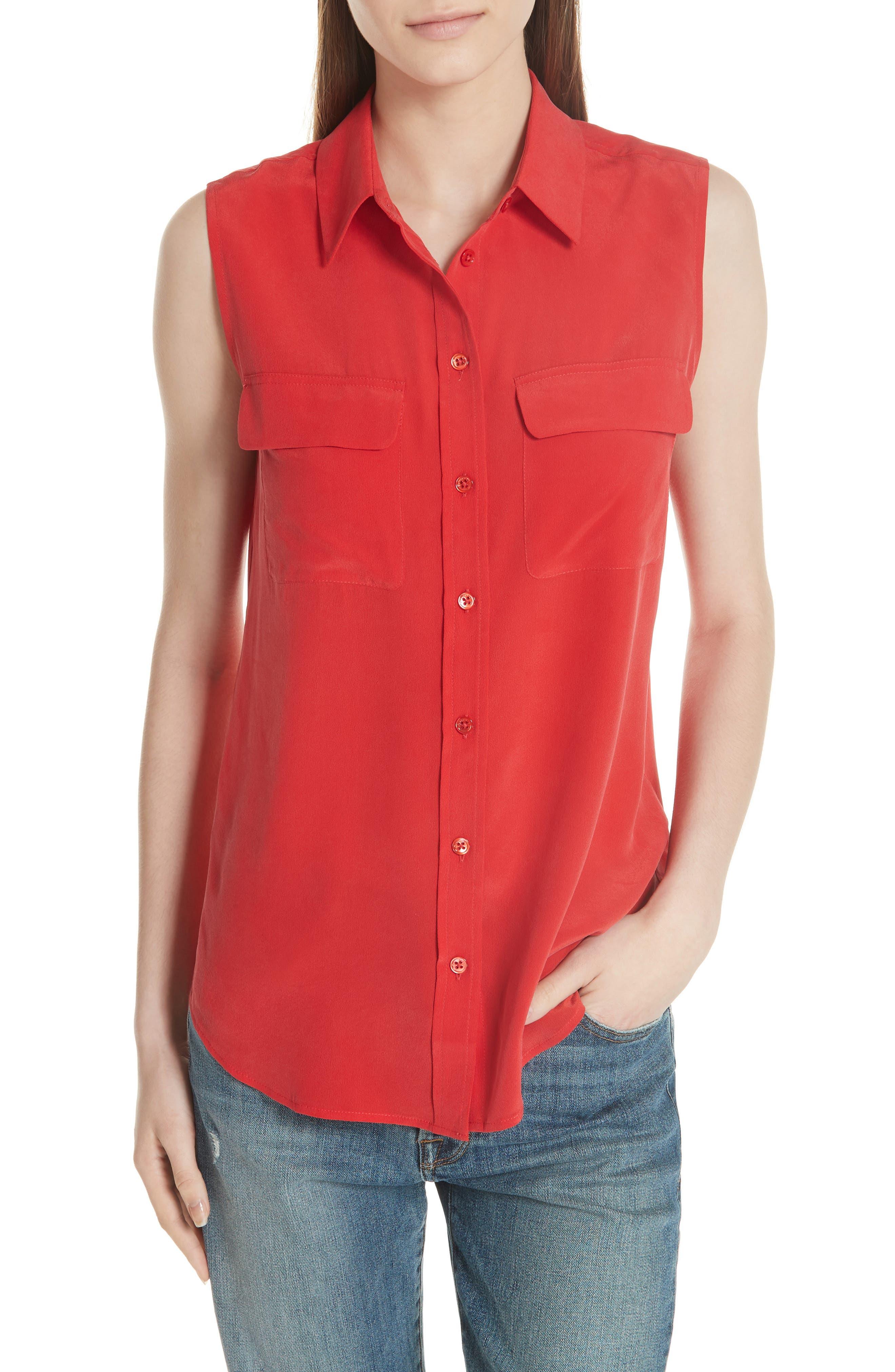 'Slim Signature' Sleeveless Silk Shirt,                             Main thumbnail 3, color,
