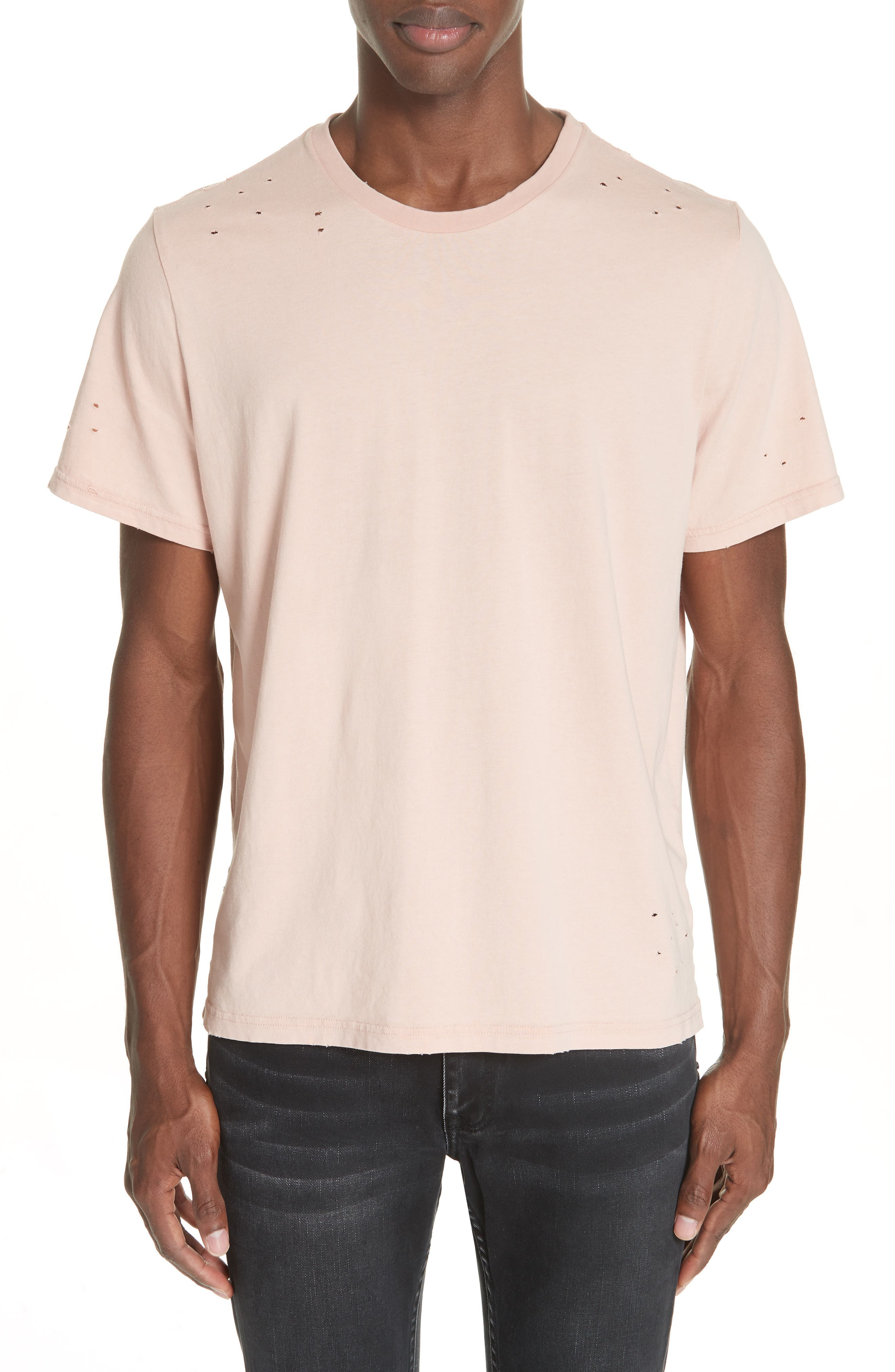 Distressed Crewneck T-Shirt,                         Main,                         color, SALMON