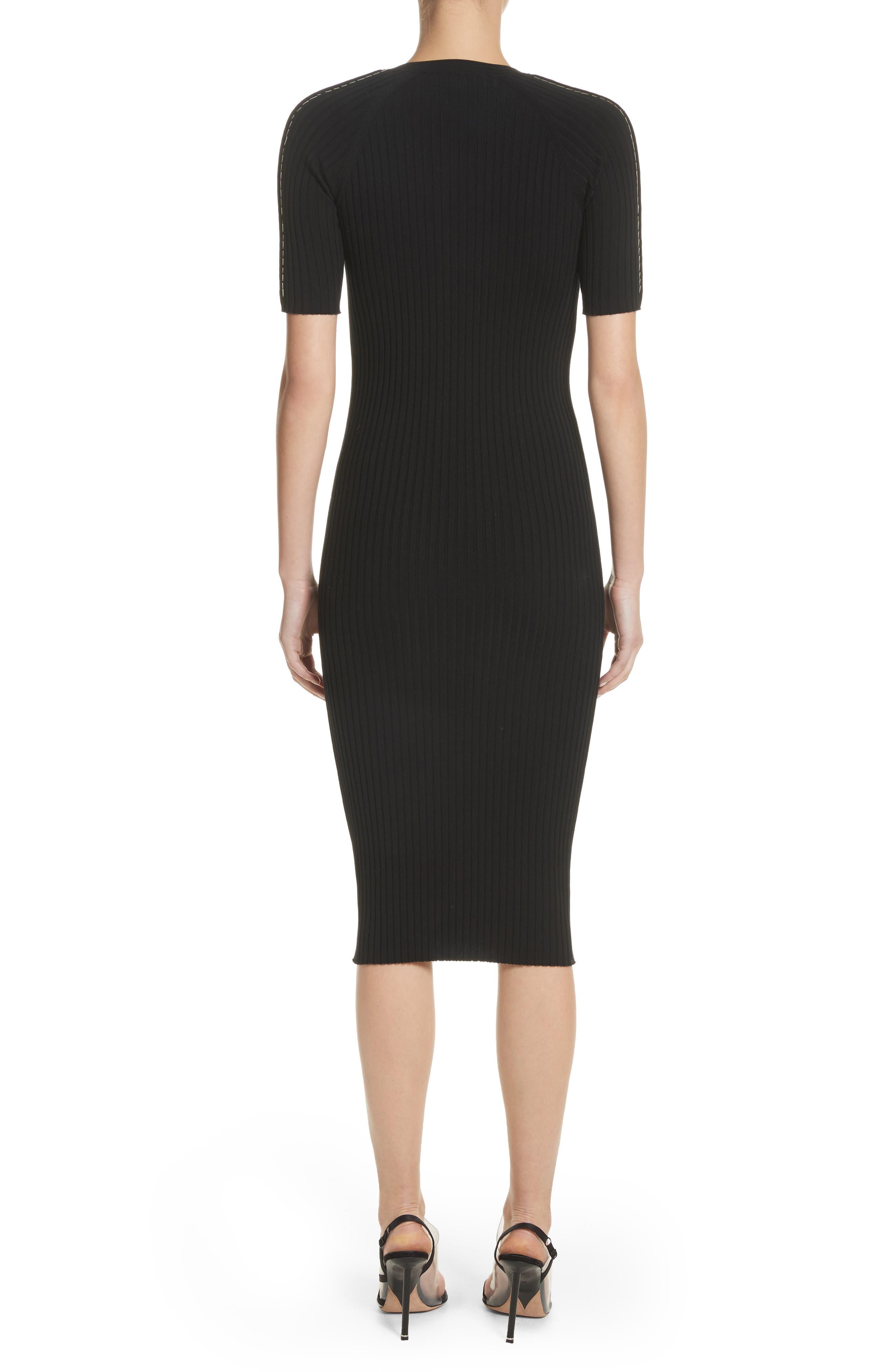 Pin Pierce Ribbed Body-Con Dress,                             Alternate thumbnail 2, color,
