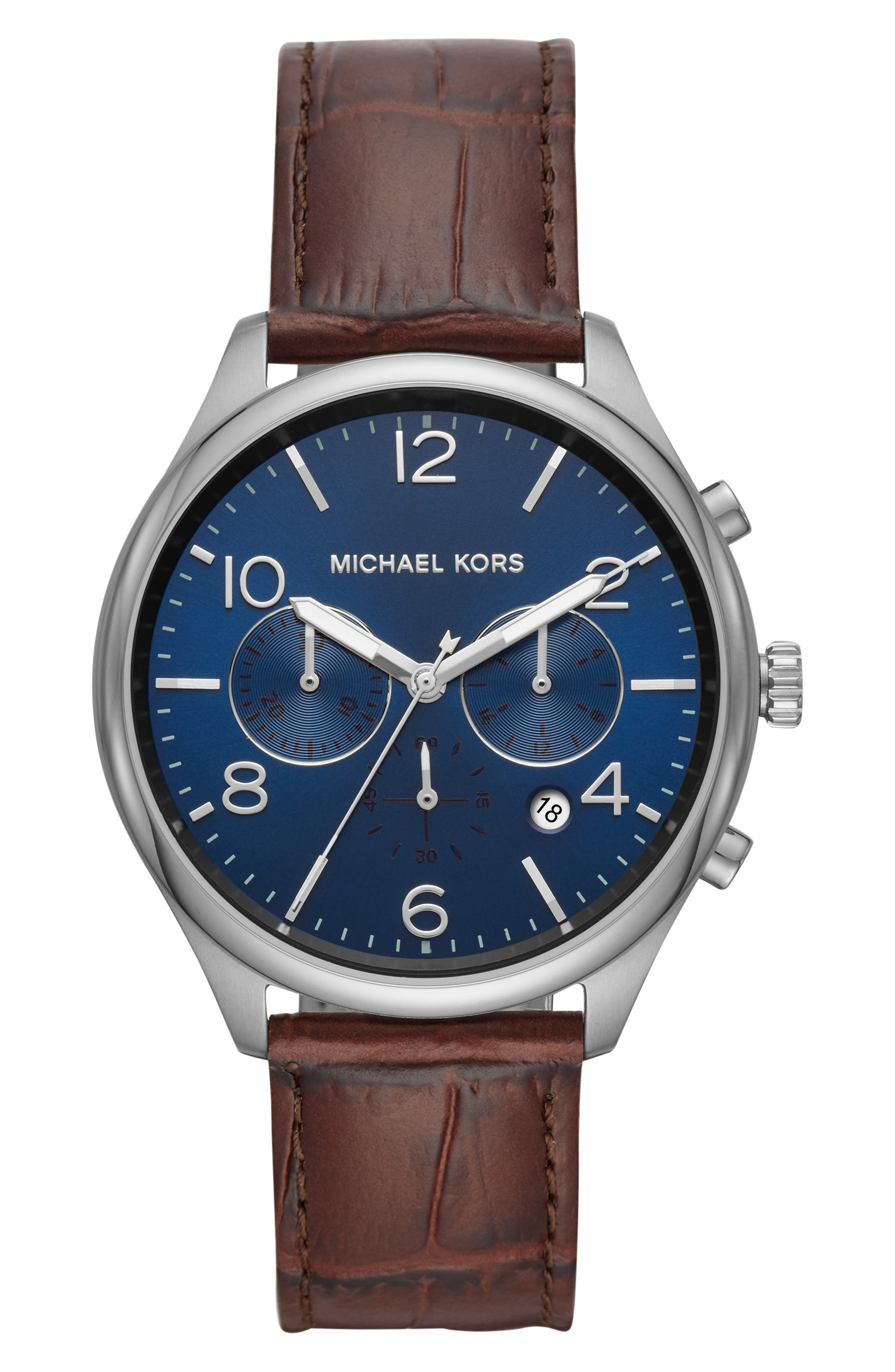 Merrick Leather Strap Watch, 42mm,                         Main,                         color, BROWN/ BLUE/ SILVER