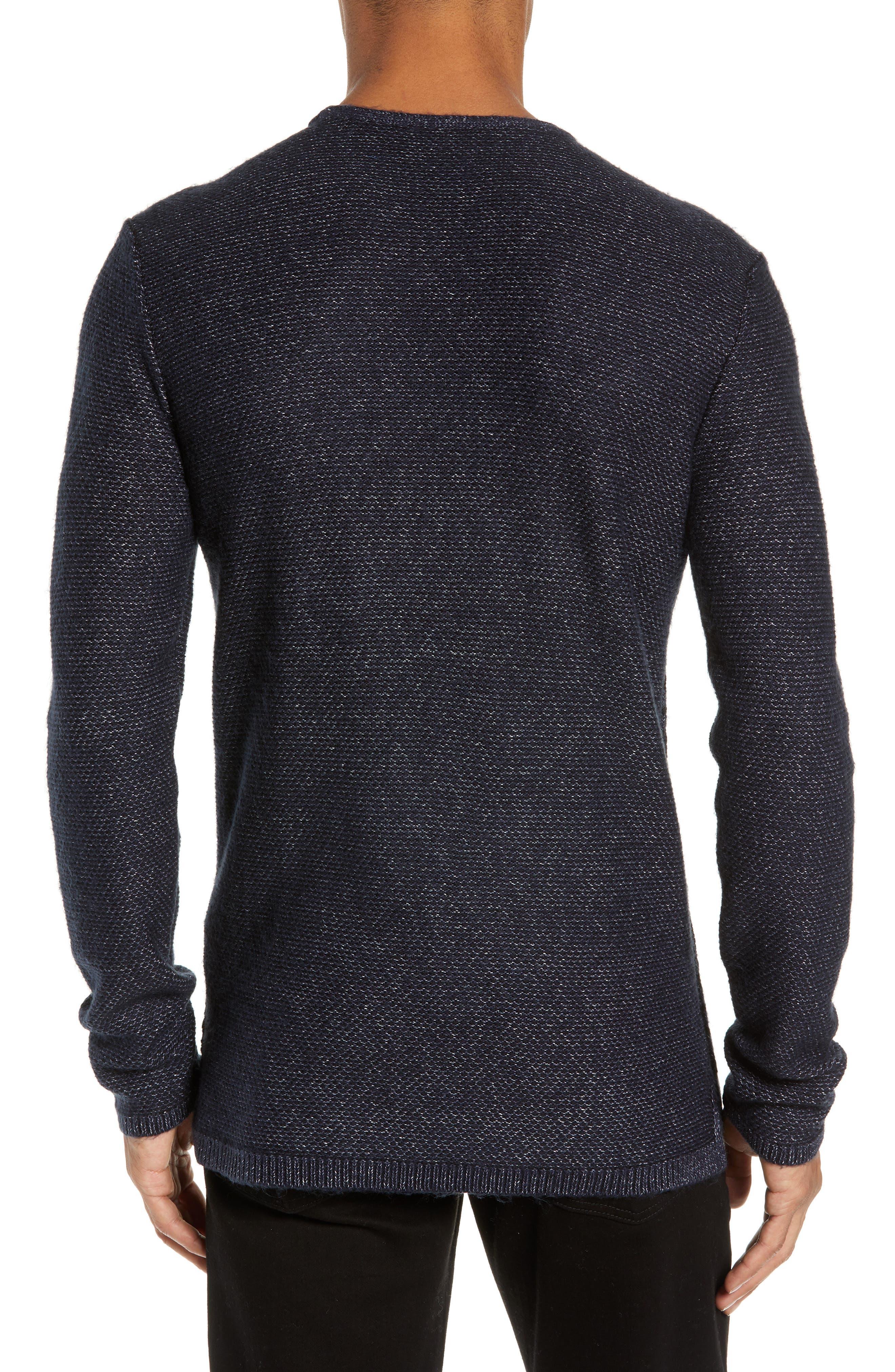 Mix Stitch Regular Fit Cotton Blend Sweater,                             Alternate thumbnail 2, color,                             INK BLUE