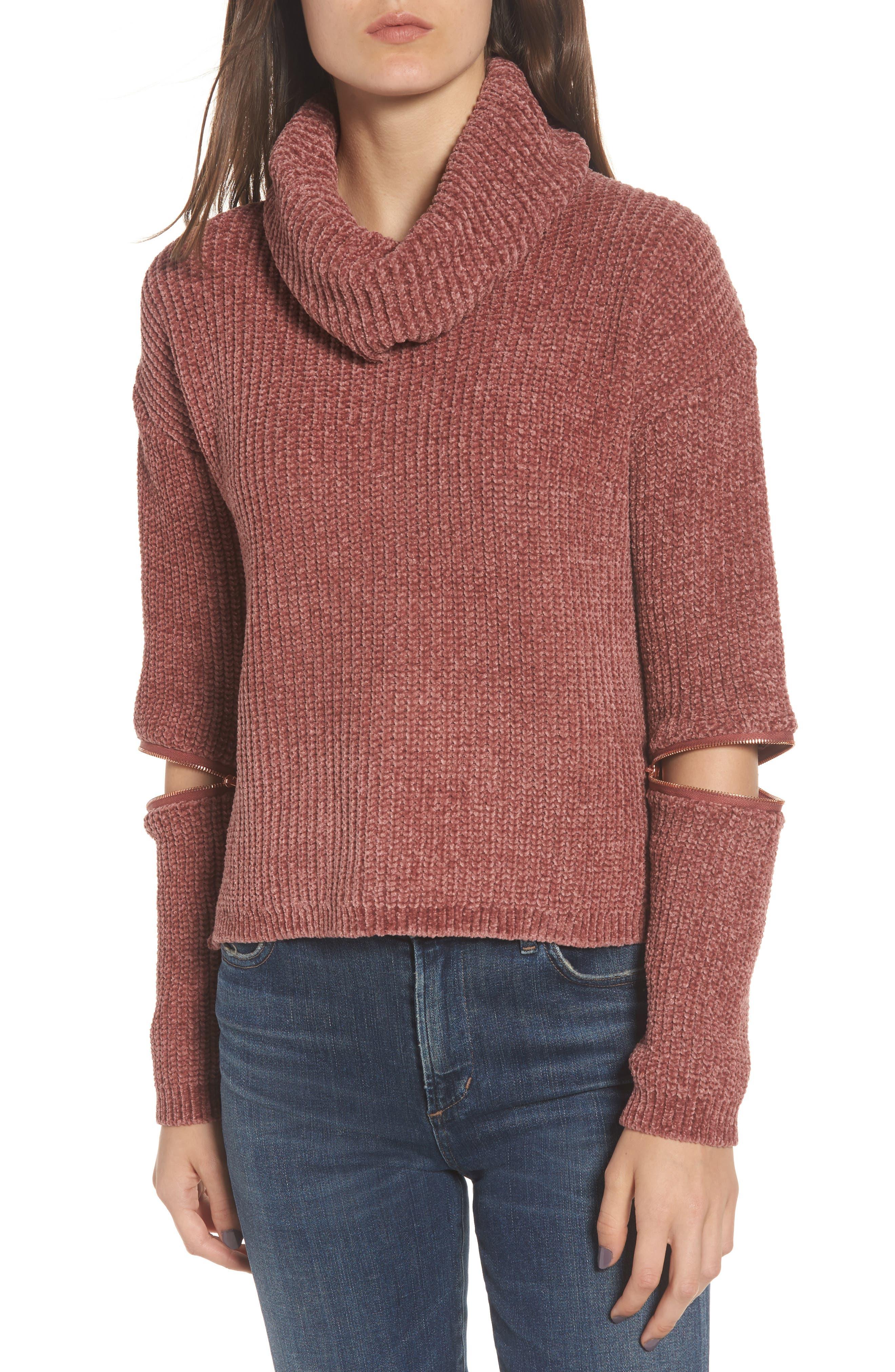 Zip Sleeve Turtleneck Sweater,                         Main,                         color, 566