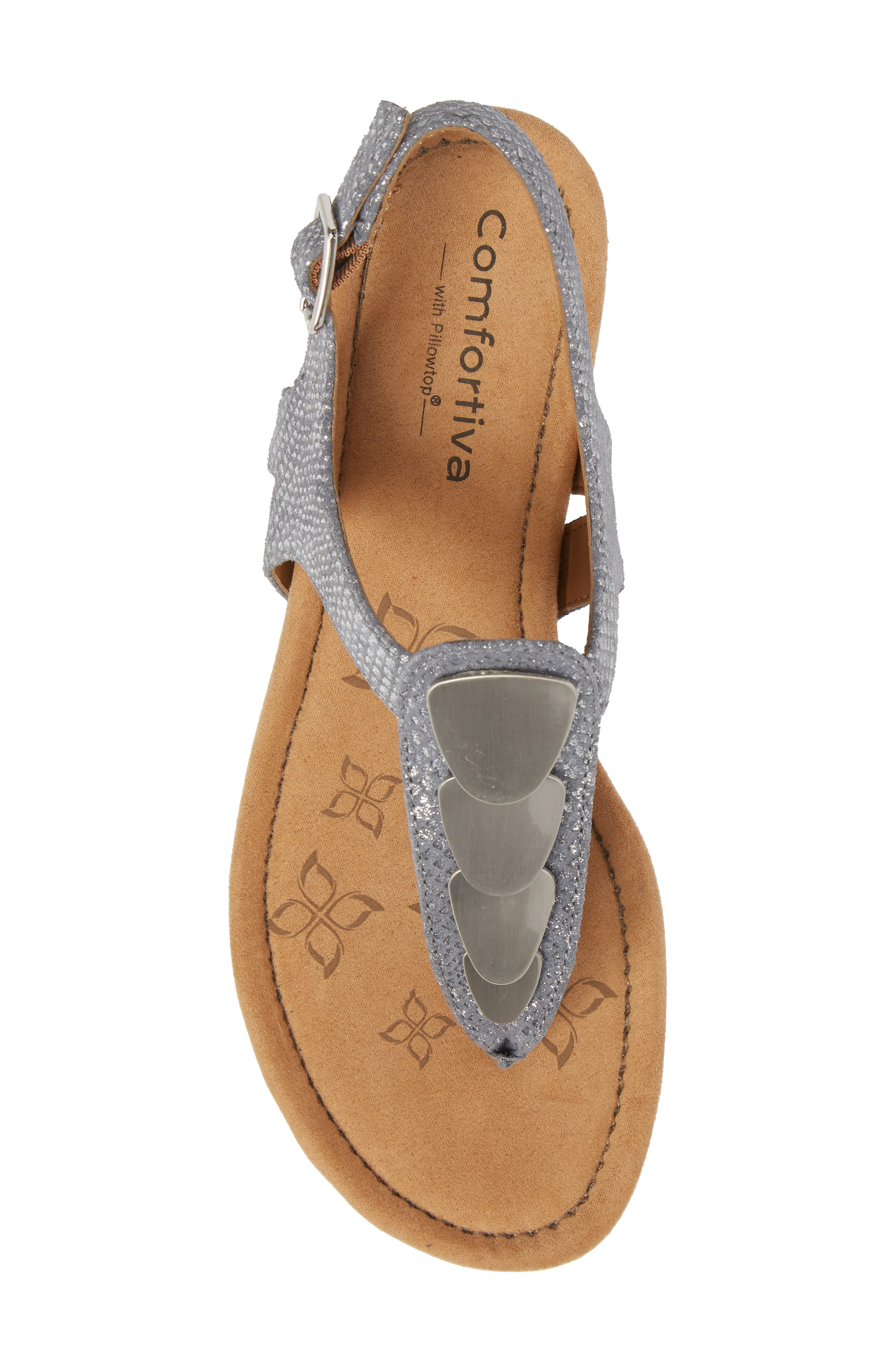 Summit Wedge Sandal,                             Alternate thumbnail 5, color,                             PEWTER SUEDE