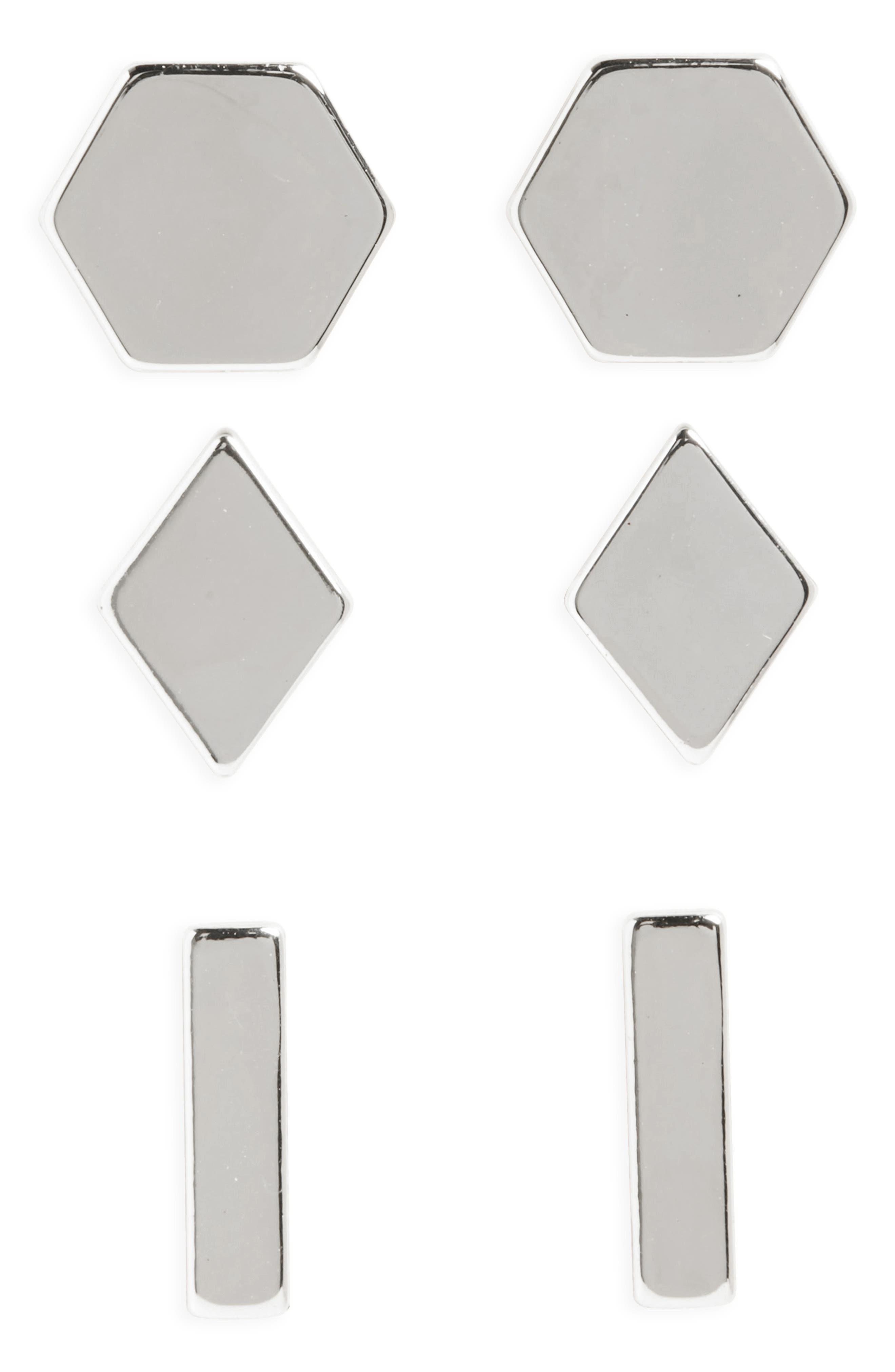 Set of 3 Stud Earrings,                             Main thumbnail 1, color,                             040