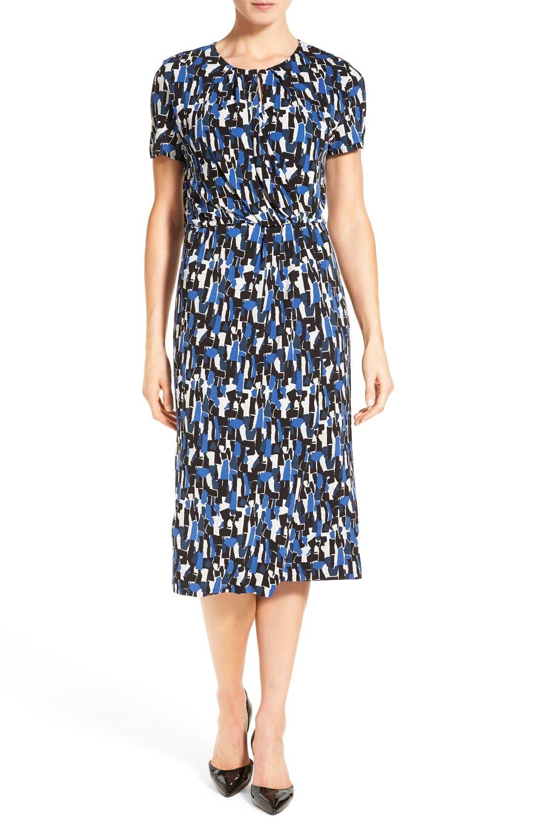 'Enedita' Mosaic Print Faux Wrap Jersey Dress, Main, color, 477