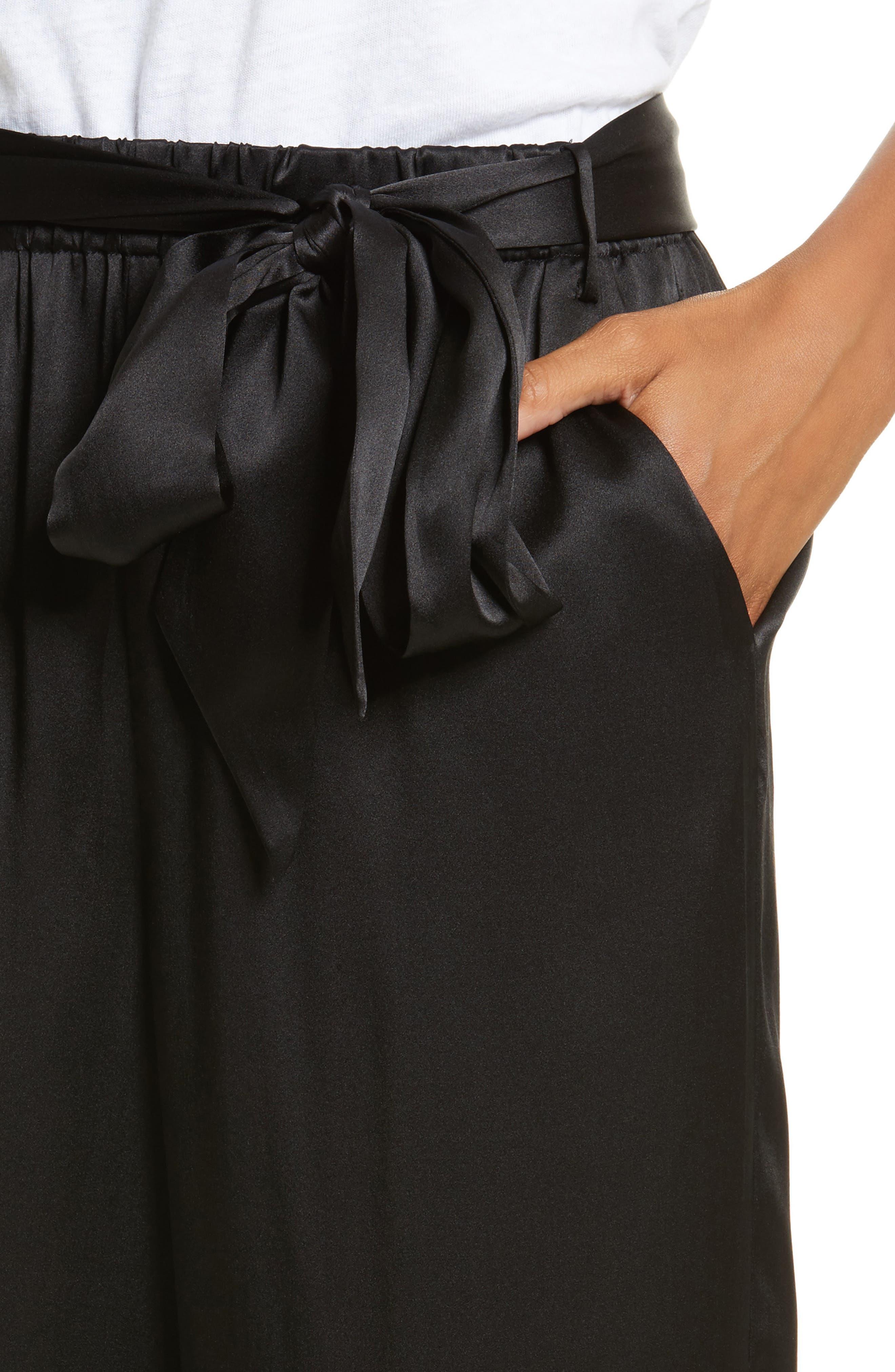 Tie Waist Crop Silk Pants,                             Alternate thumbnail 4, color,                             001