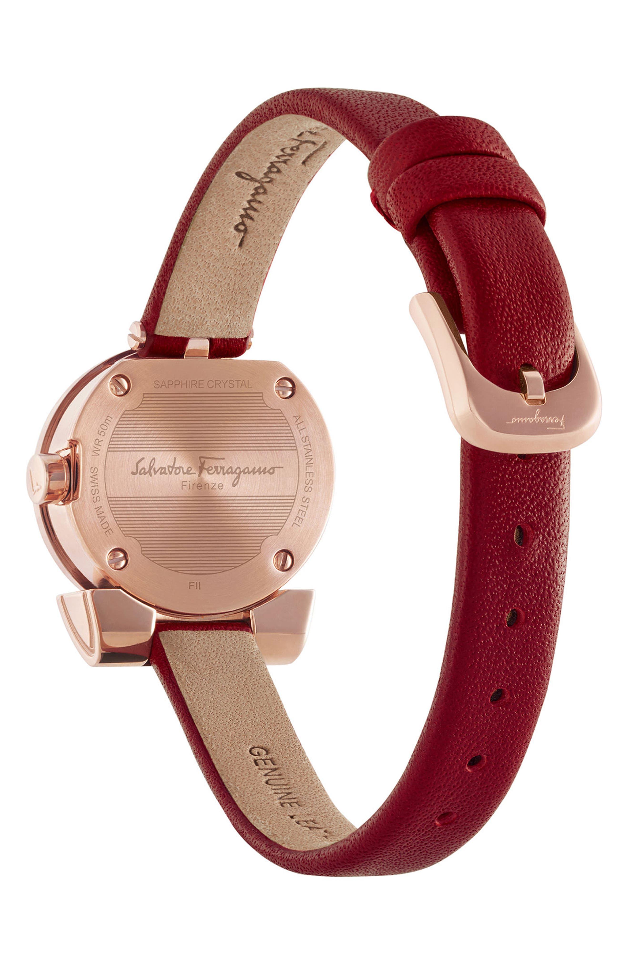 Gancino Leather Bracelet Watch, 22mm,                             Alternate thumbnail 2, color,                             BURGUNDY/ SILVER/ ROSE GOLD