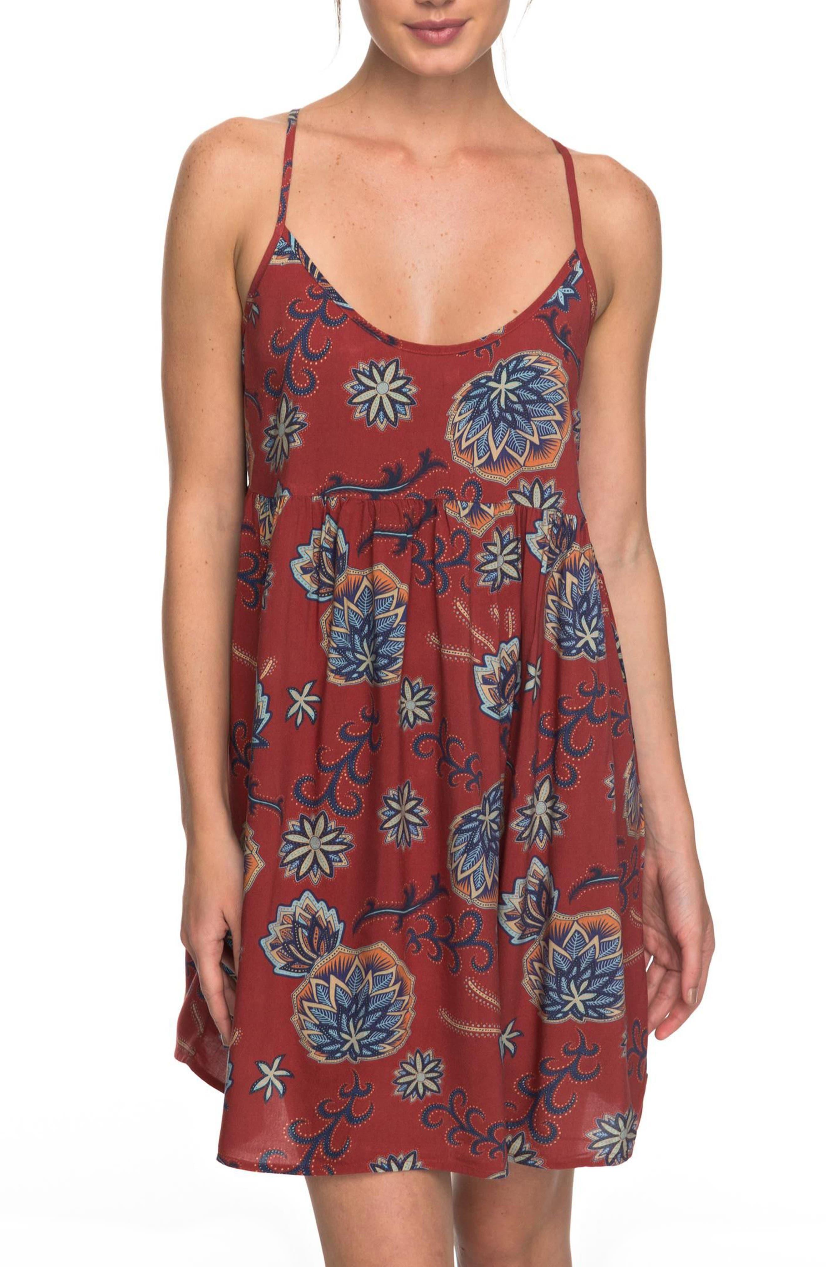 Tropical Sundance Print Babydoll Dress,                         Main,                         color, 001