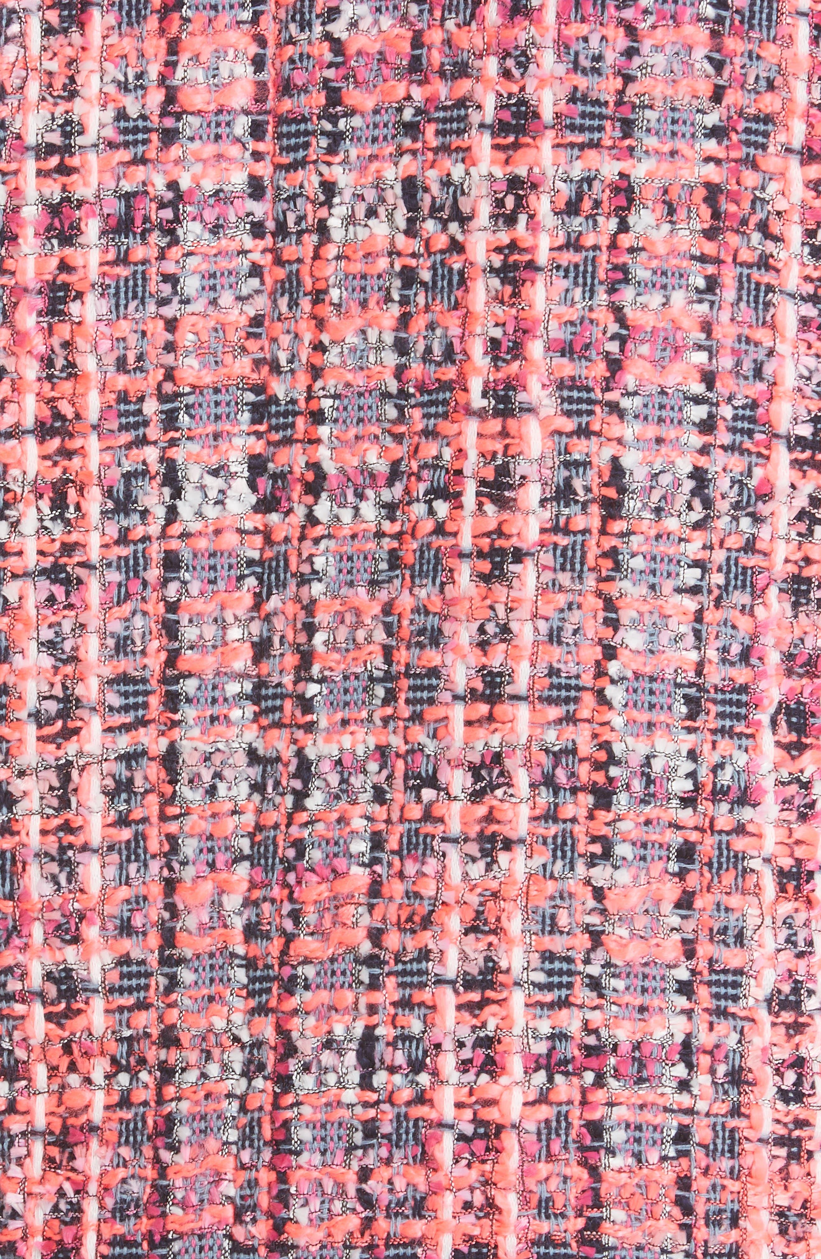 stud trim tweed jacket,                             Alternate thumbnail 6, color,                             PERFECT PEONY