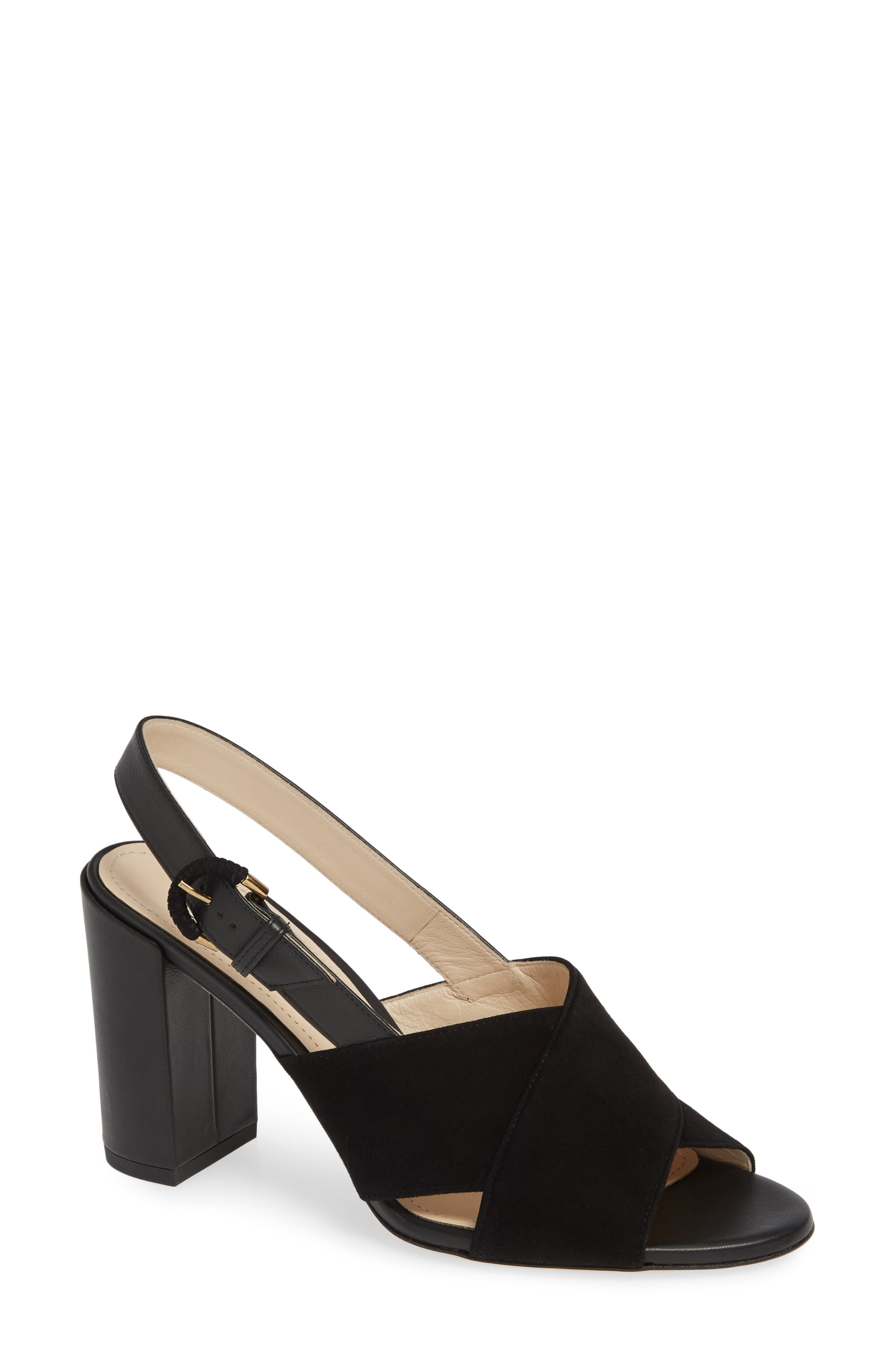Slingback Sandal,                             Main thumbnail 1, color,                             BLACK SUEDE