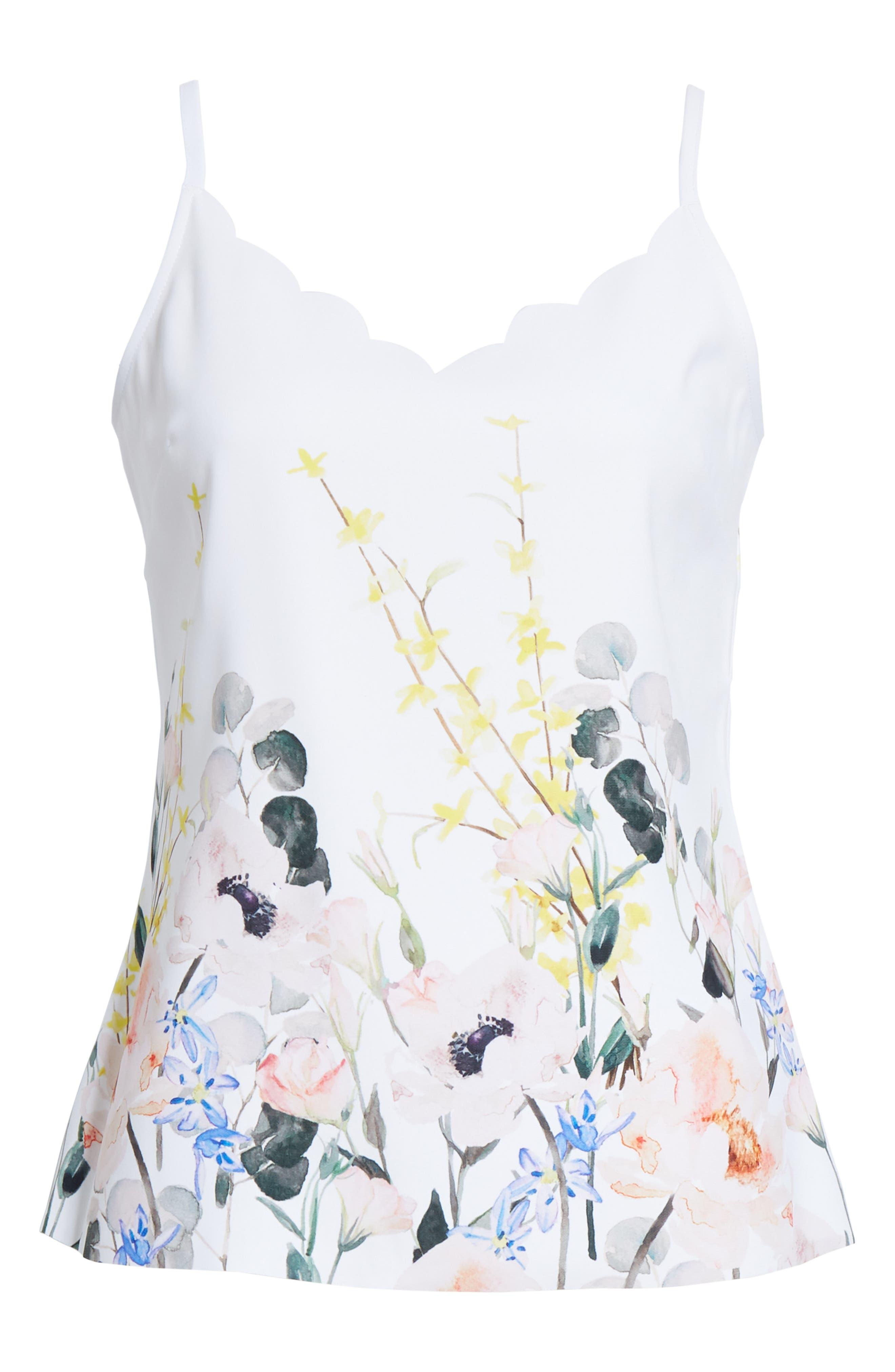 Ziina Elegance Scallop Camisole,                             Alternate thumbnail 6, color,                             WHITE
