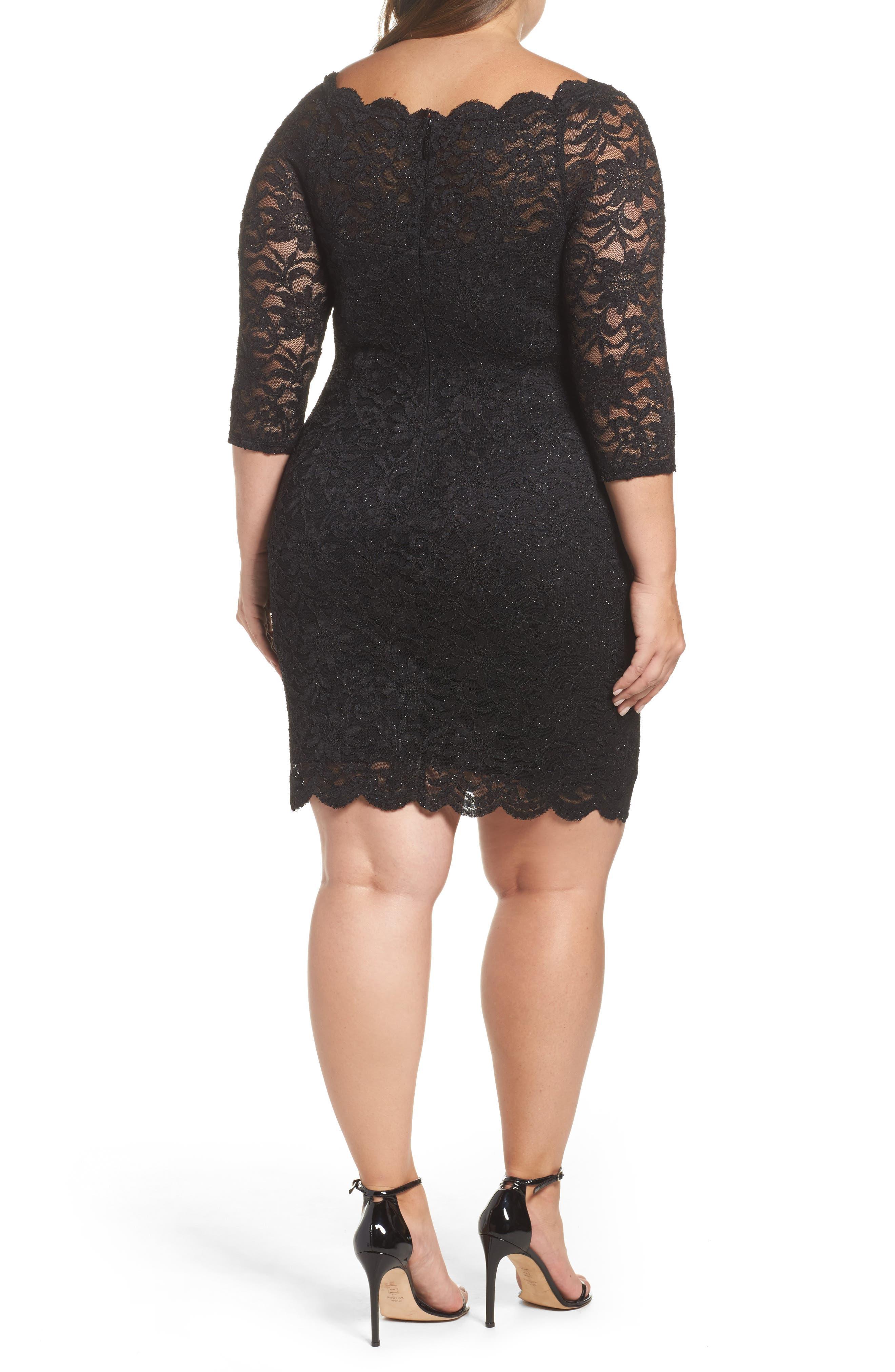 Glitter Lace Cocktail Dress,                             Alternate thumbnail 2, color,                             BLACK