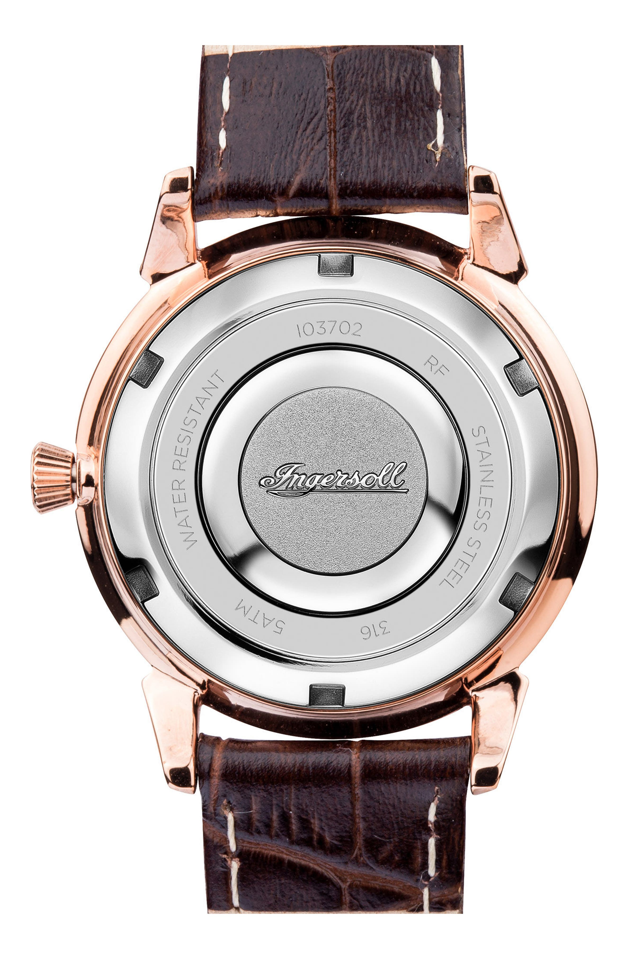 Ingersoll Crystal Accent Leather Strap Watch, 34mm,                             Alternate thumbnail 2, color,                             BROWN/ GREY/ ROSE GOLD