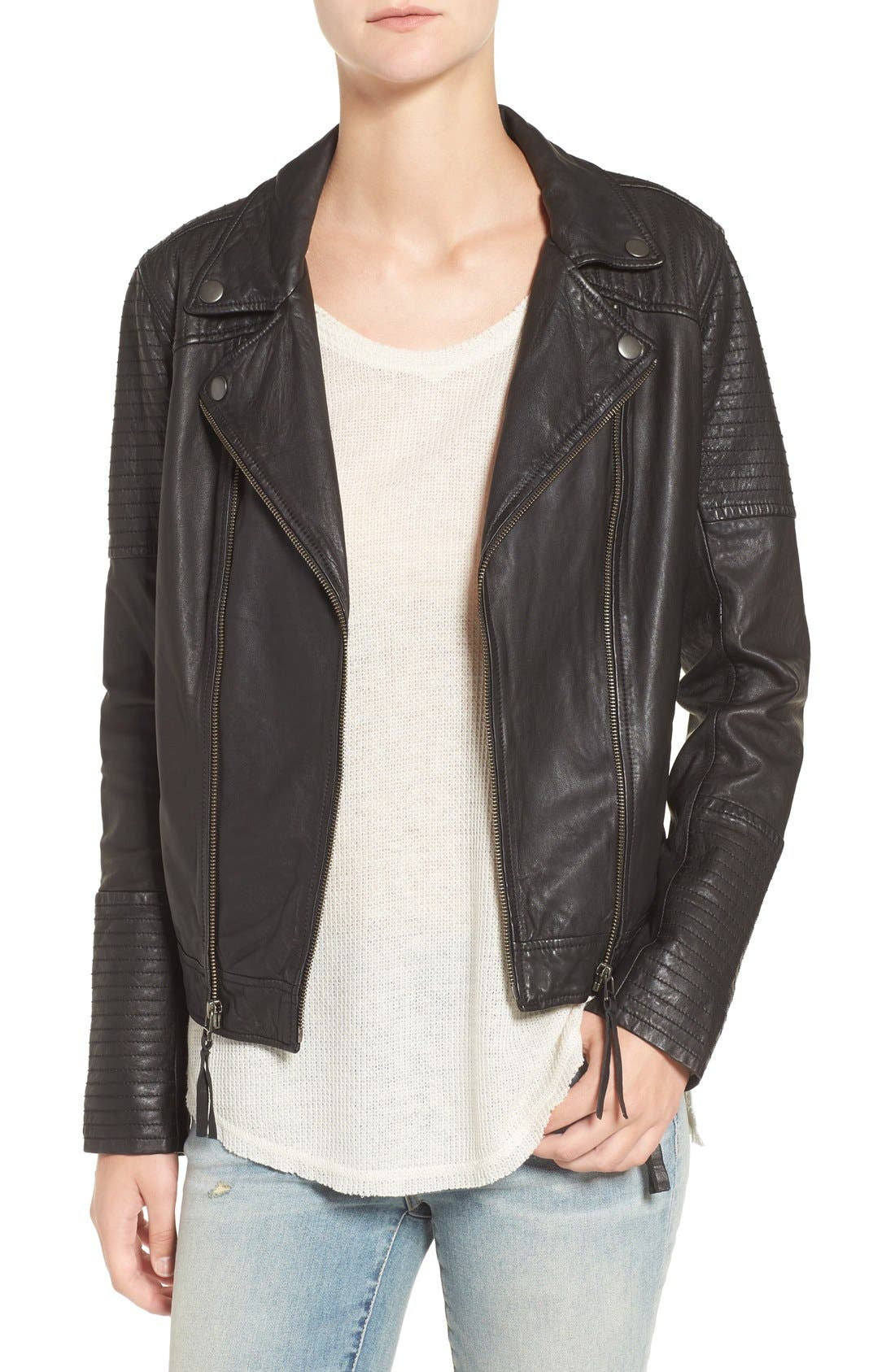 Quilted Leather Moto Jacket,                             Main thumbnail 1, color,                             001
