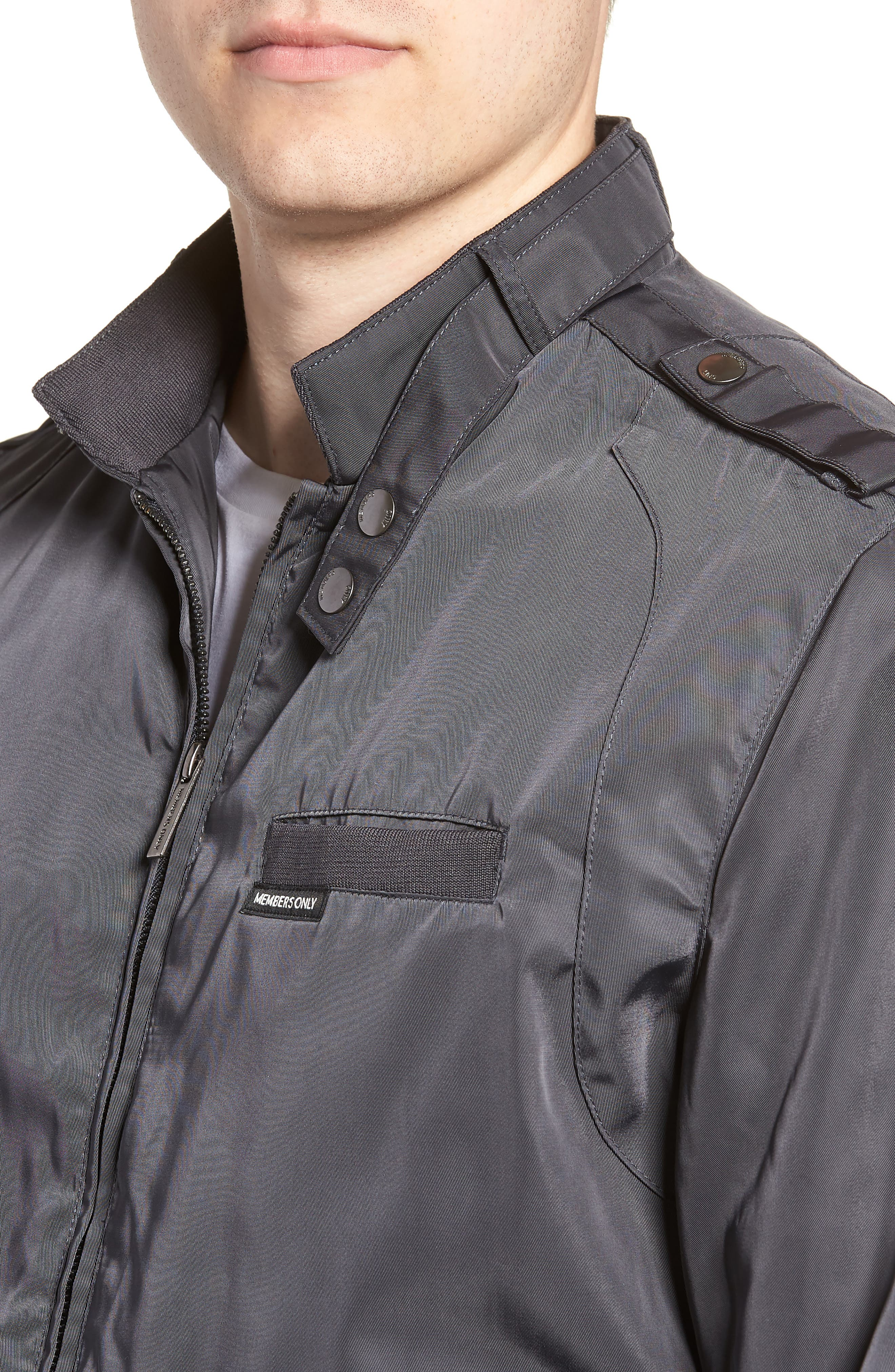 Iconic Racer Jacket,                             Alternate thumbnail 4, color,                             CHARCOAL
