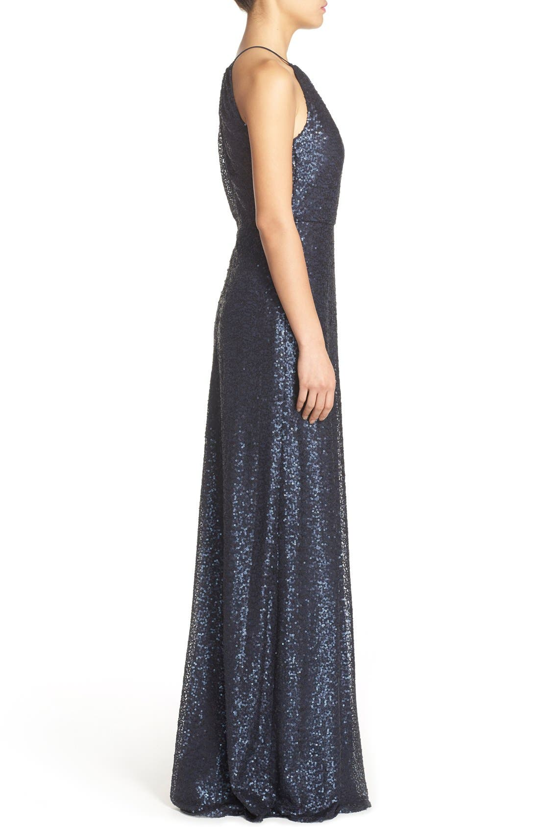 'Chandler' Sequin Tulle Halter Style Gown,                             Alternate thumbnail 7, color,