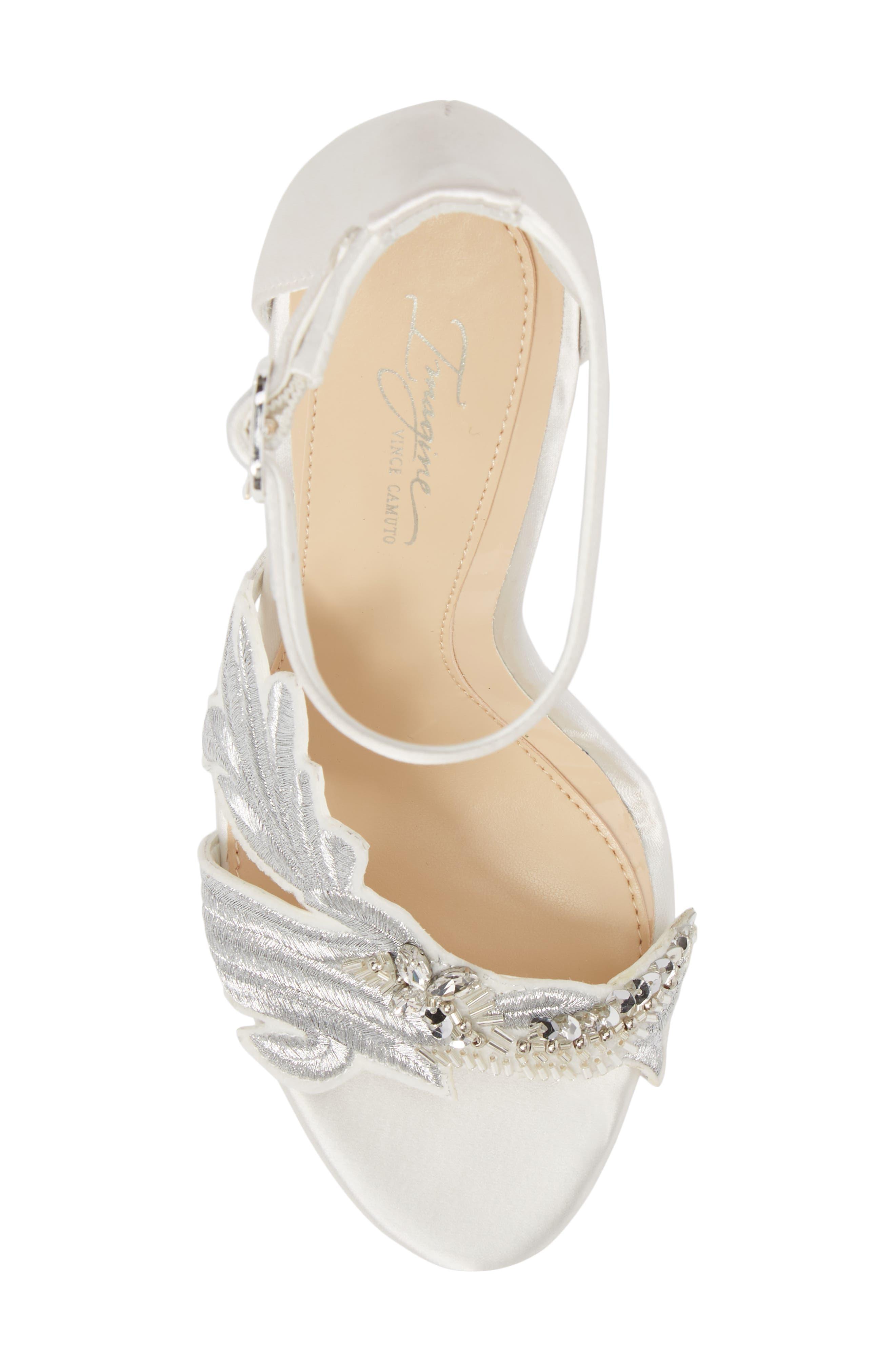 Imagine Vince Camuto Dayanara Embellished Sandal,                             Alternate thumbnail 5, color,                             PURE WHITE SATIN