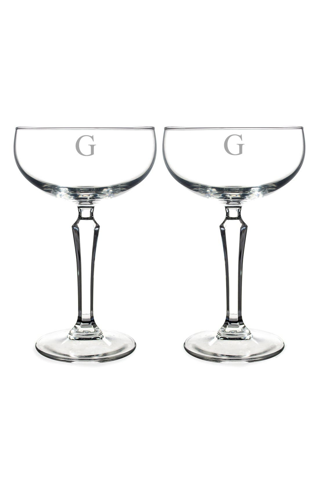 Monogram Coupe Cocktail/Champagne Glasses,                             Main thumbnail 9, color,