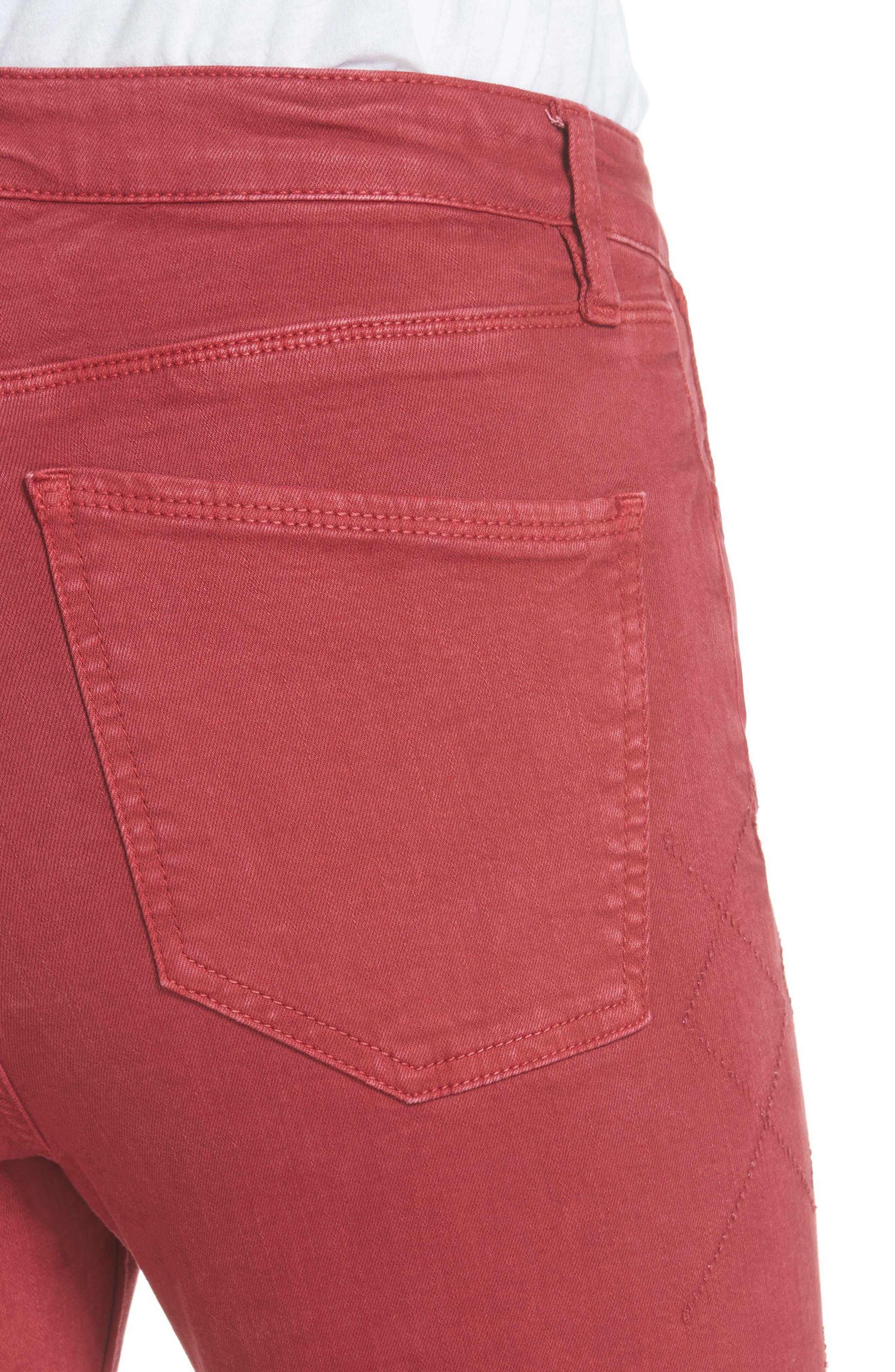 Rolling Old Reina Lattice Stitch Skinny Jeans,                             Alternate thumbnail 4, color,                             FRAMBOISE