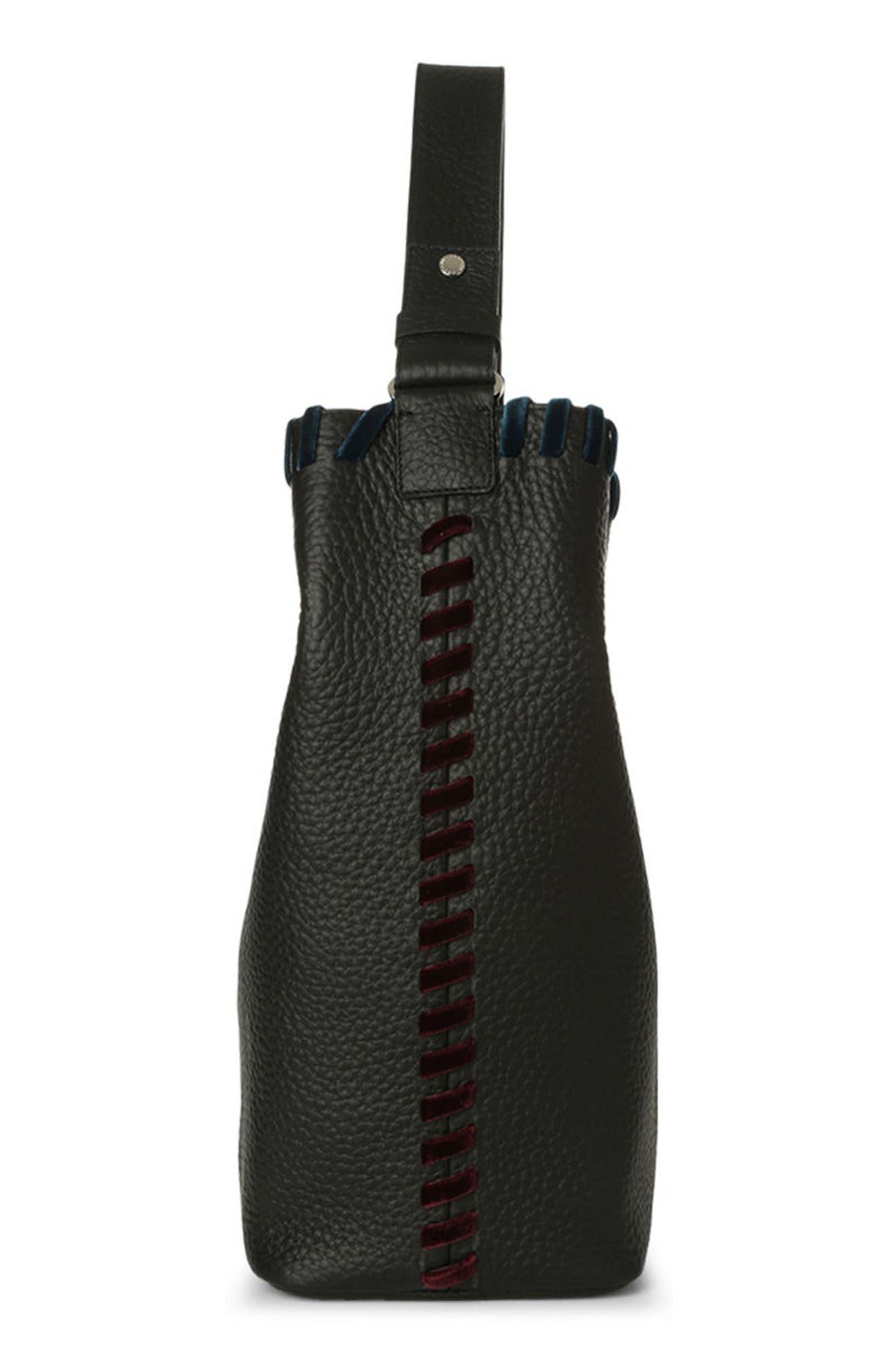 Noona Velvet Trim Calfskin Leather Tote,                             Alternate thumbnail 4, color,                             001