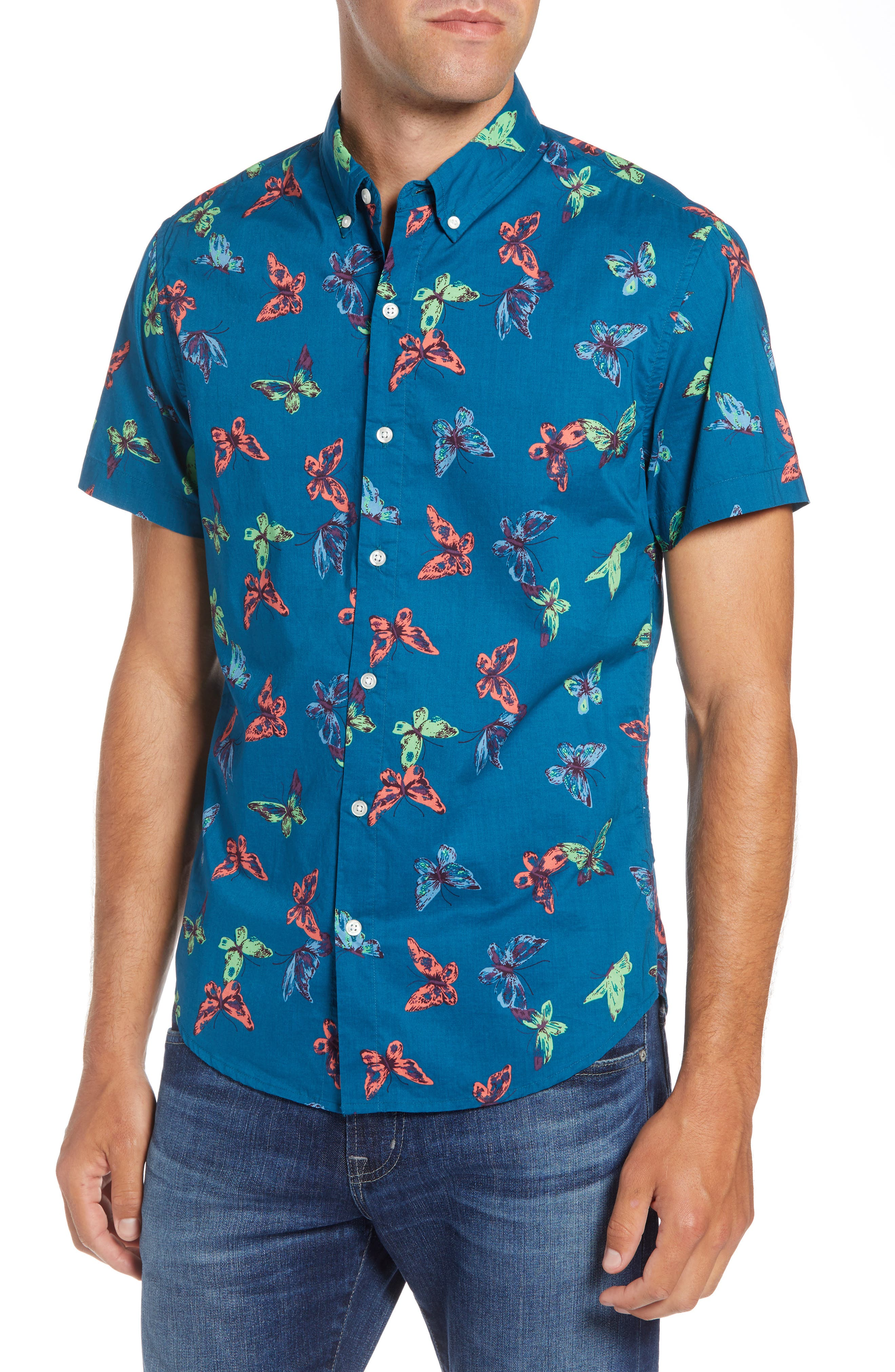 Riviera Slim Fit Butterfly Print Sport Shirt,                         Main,                         color, 400
