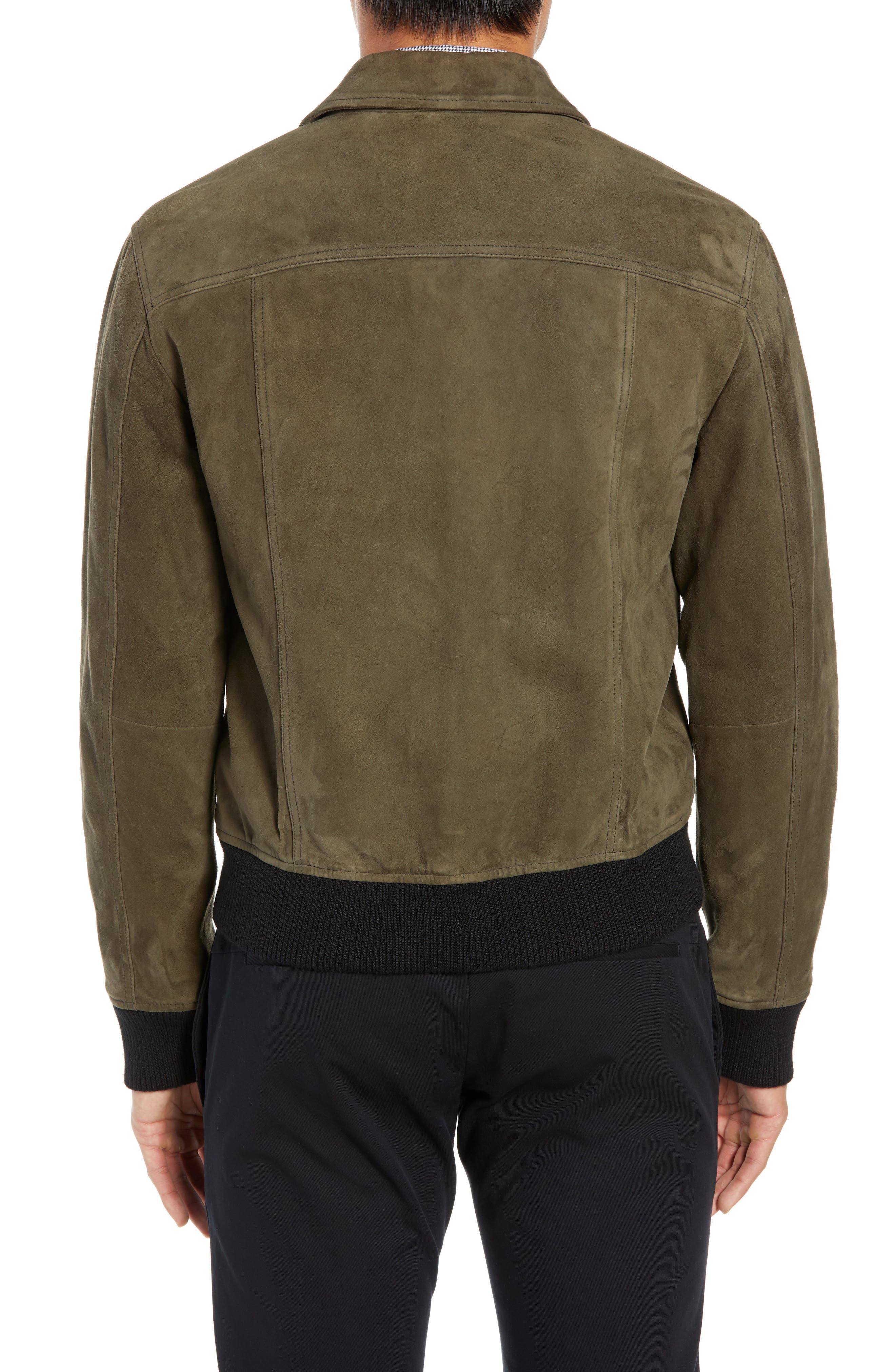 Suede Trucker Jacket,                             Alternate thumbnail 2, color,                             PALERMO OLIVE