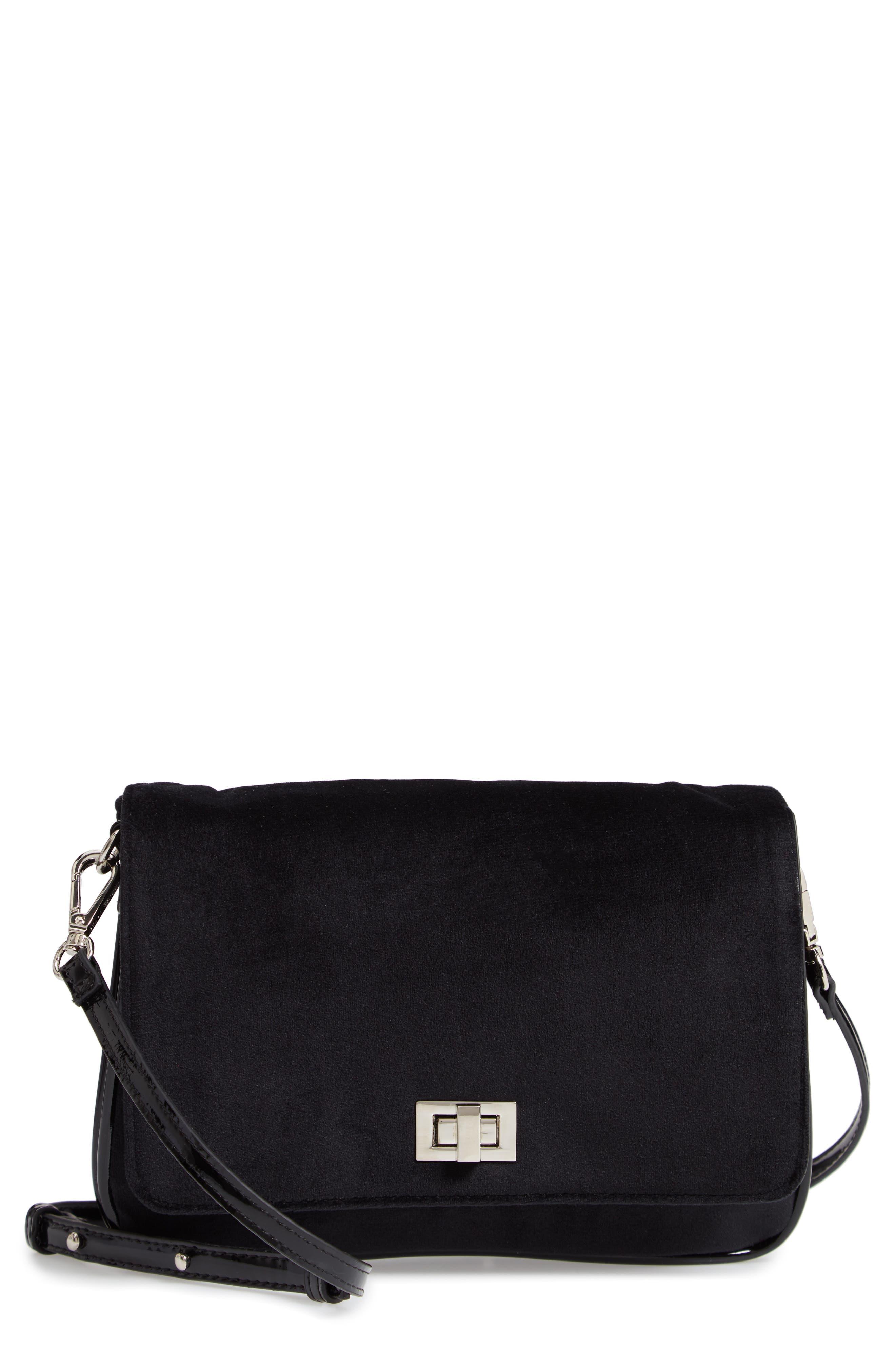 Velvet Crossbody Bag,                             Main thumbnail 1, color,                             BLACK