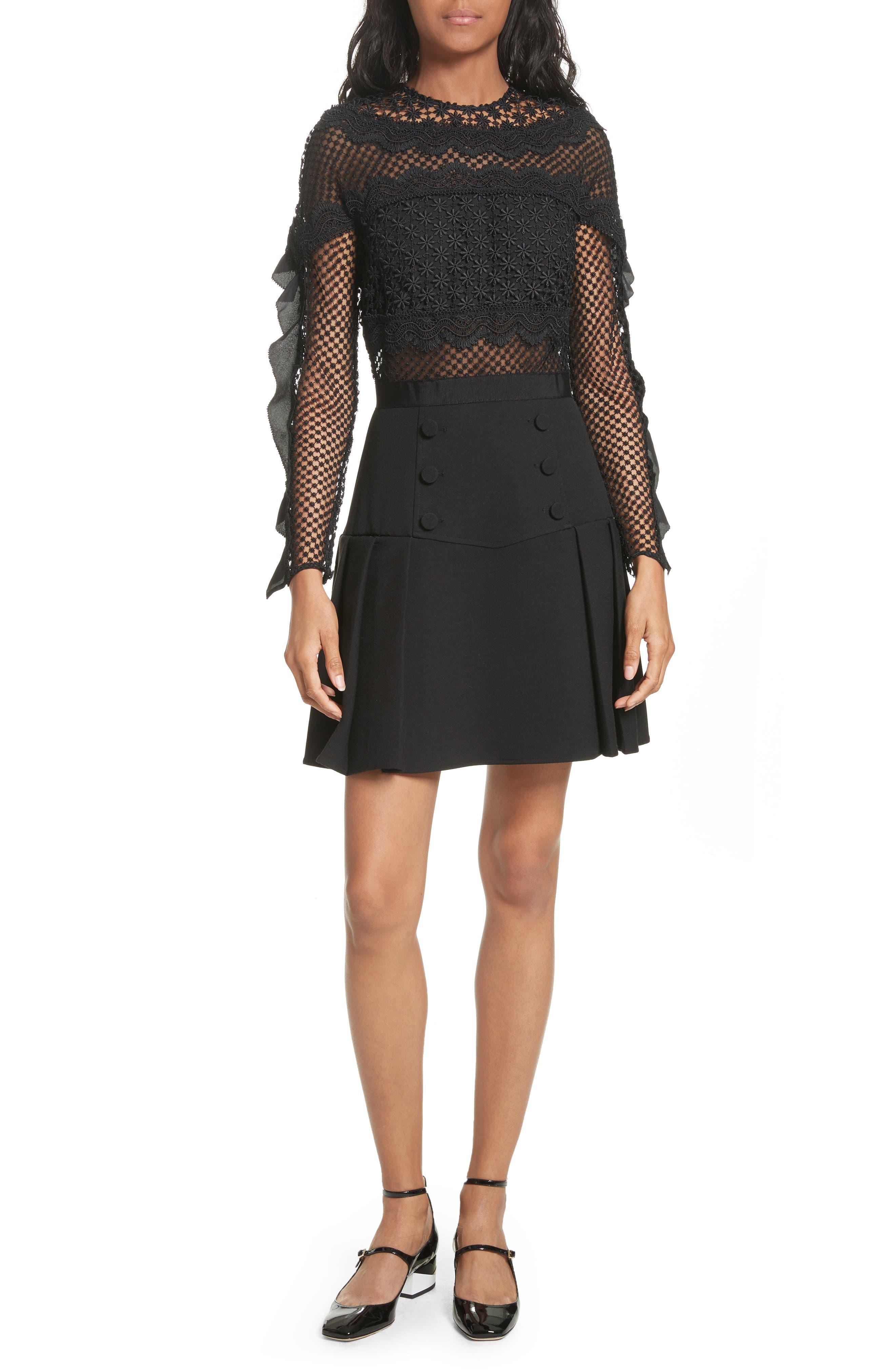 Bellis Lace Fit & Flare Dress,                             Main thumbnail 1, color,                             001