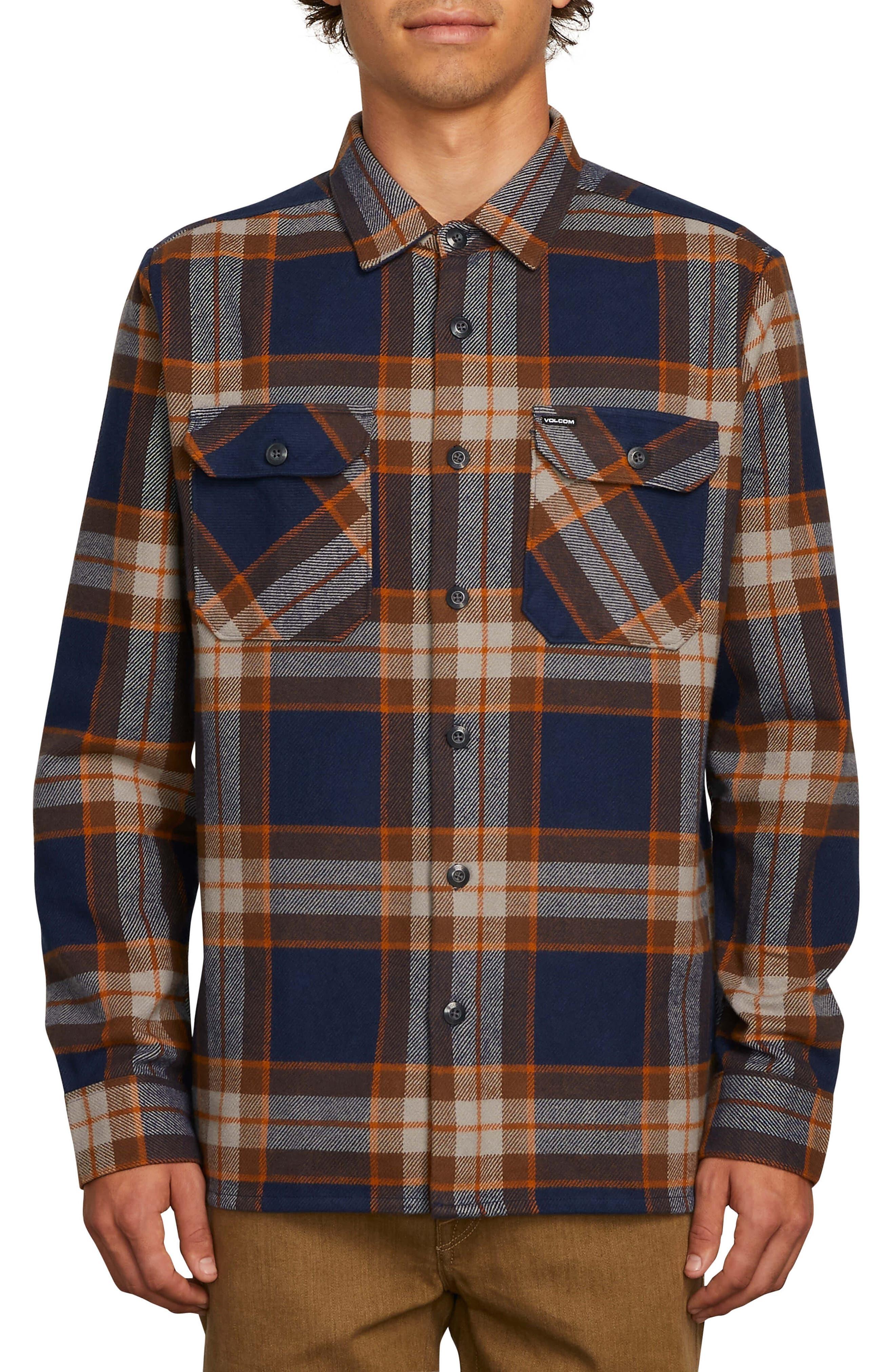 Volcom Randower Heavyweight Flannel Shirt, Blue