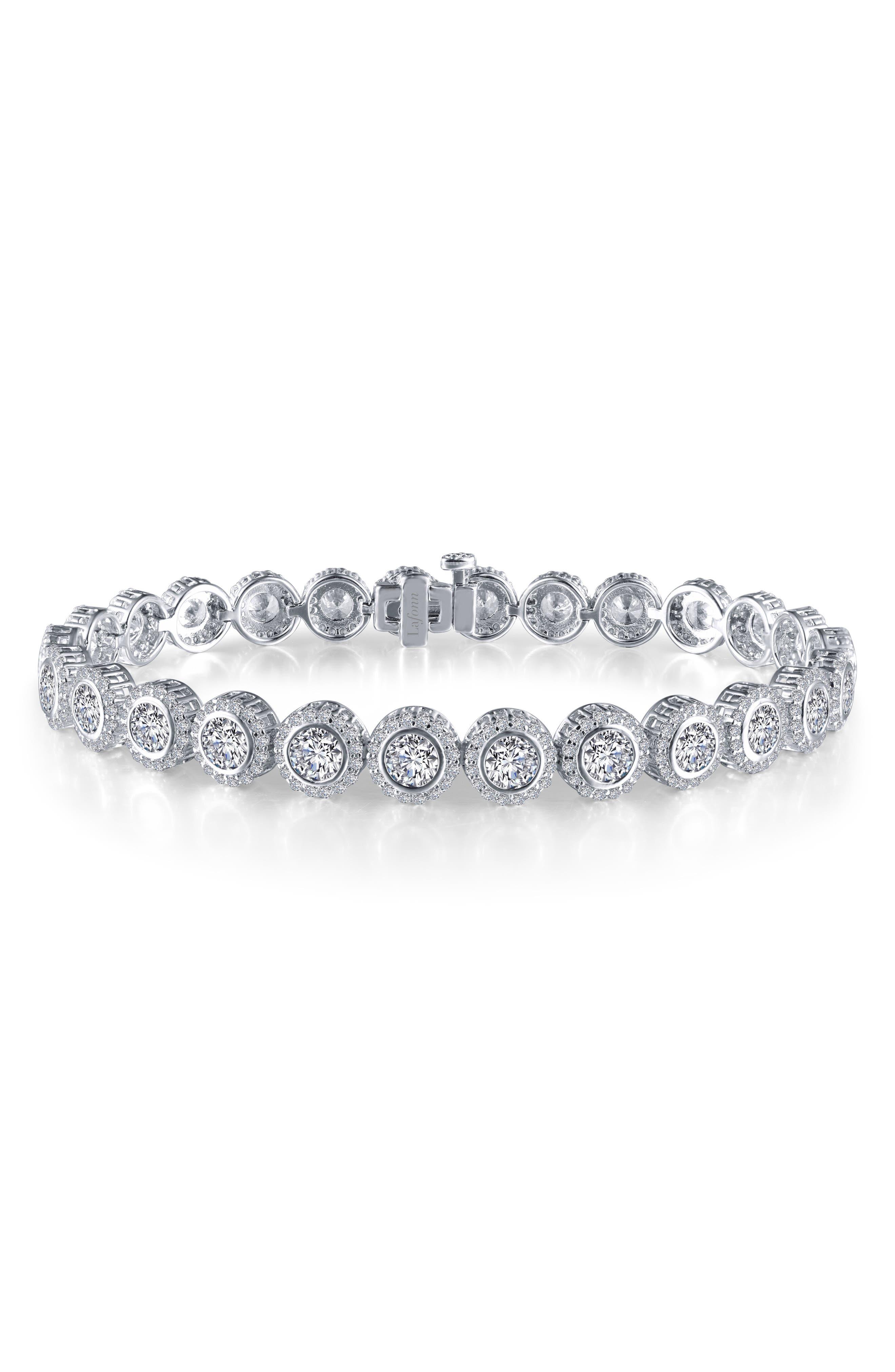 Halo Simulated Diamond Tennis Bracelet,                             Main thumbnail 1, color,                             SILVER/ CLEAR