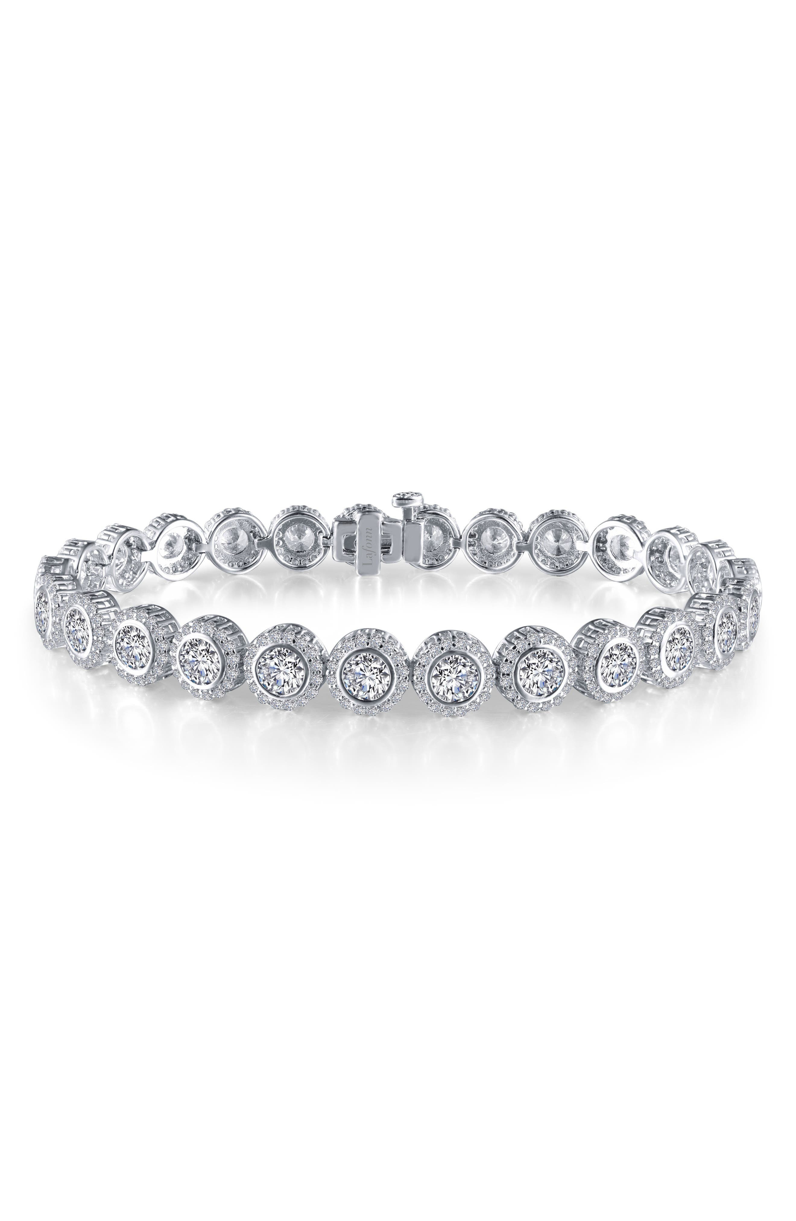 Halo Simulated Diamond Tennis Bracelet,                         Main,                         color, SILVER/ CLEAR