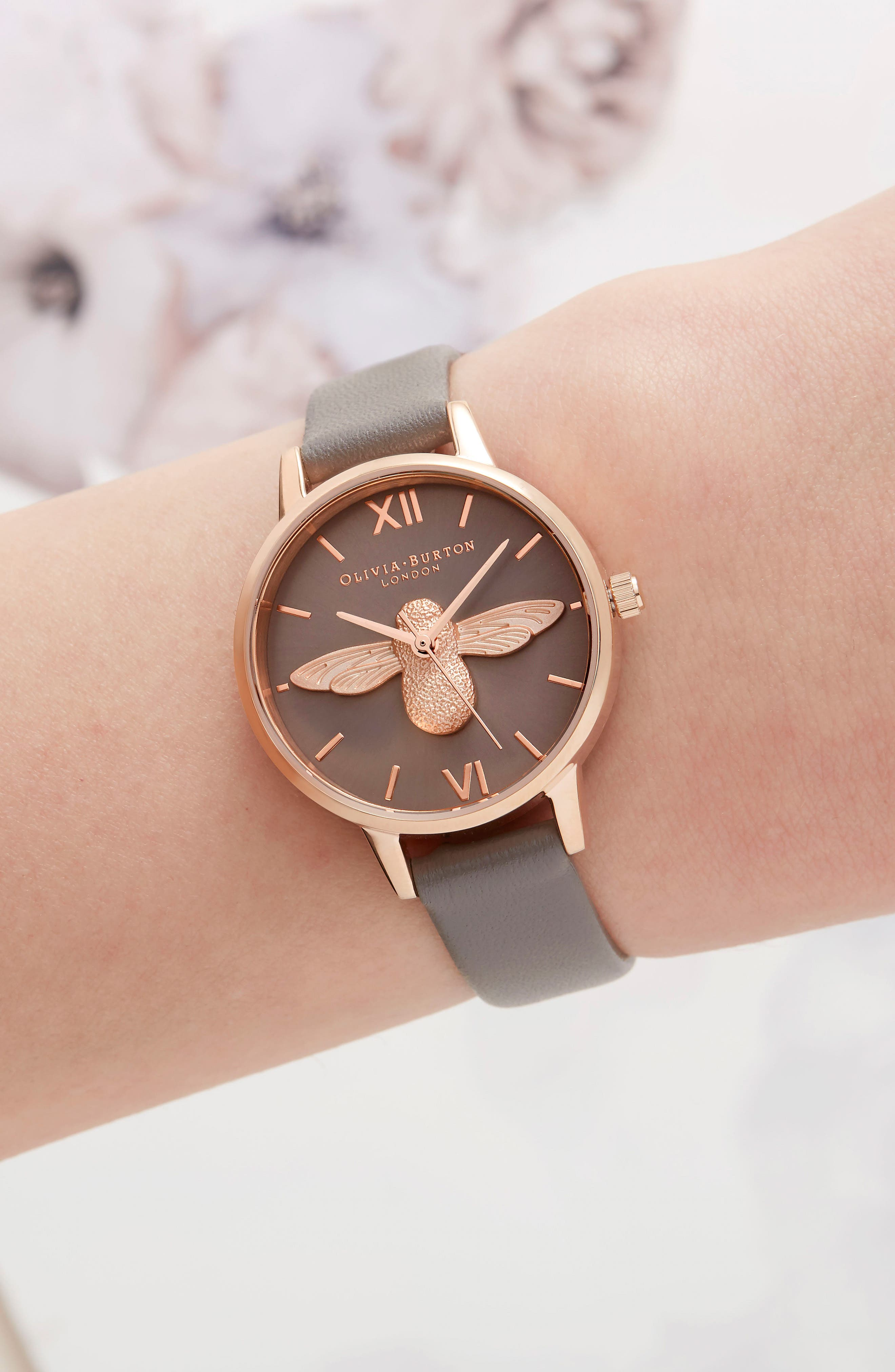 3D Bee Leather Strap Watch, 30mm,                             Alternate thumbnail 2, color,                             LONDON GREY/ BEE/ ROSE GOLD
