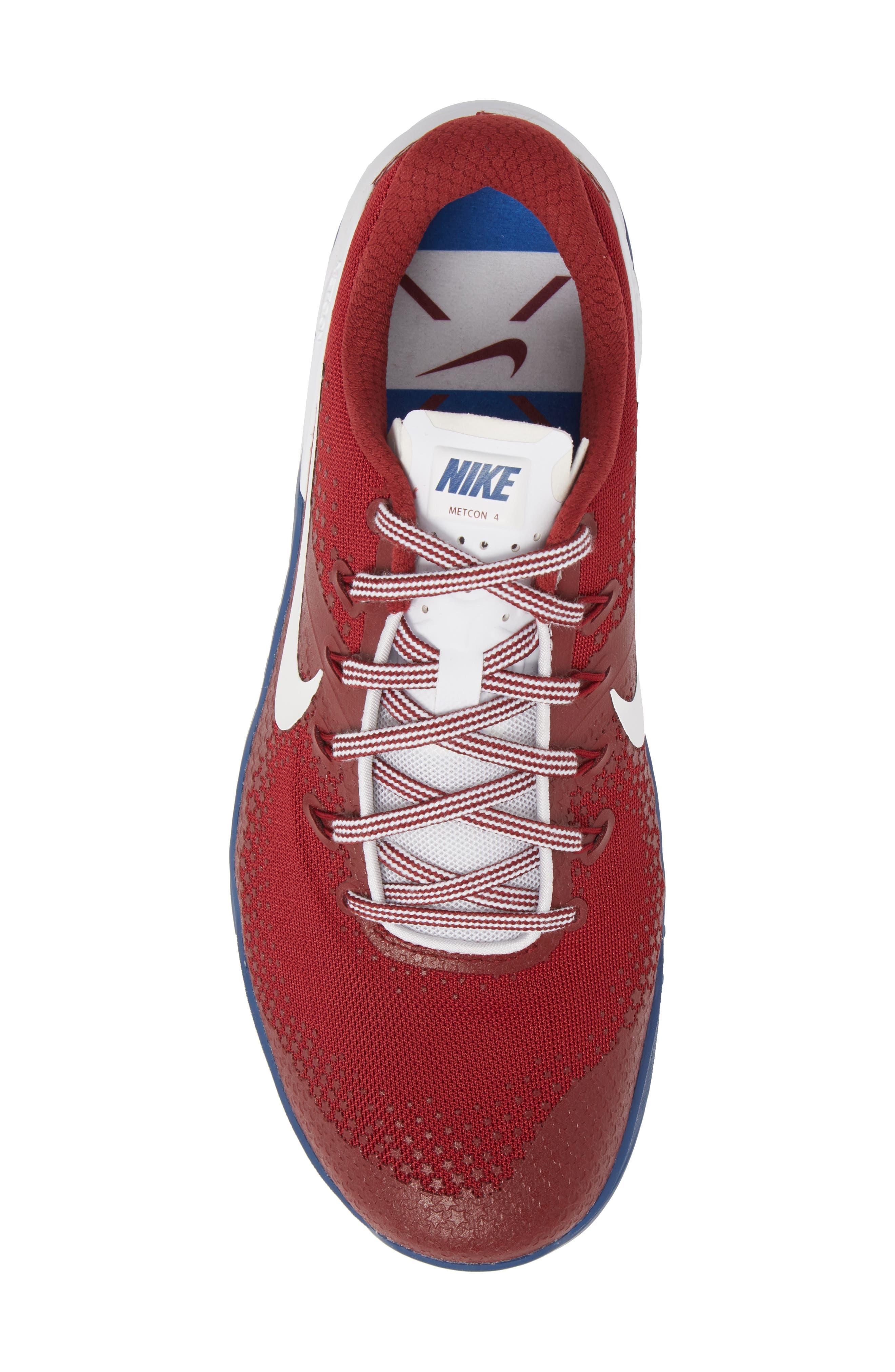 Metcon 4 Americana Training Shoe,                             Alternate thumbnail 5, color,                             TEAM RED/ WHITE/ GYM BLUE