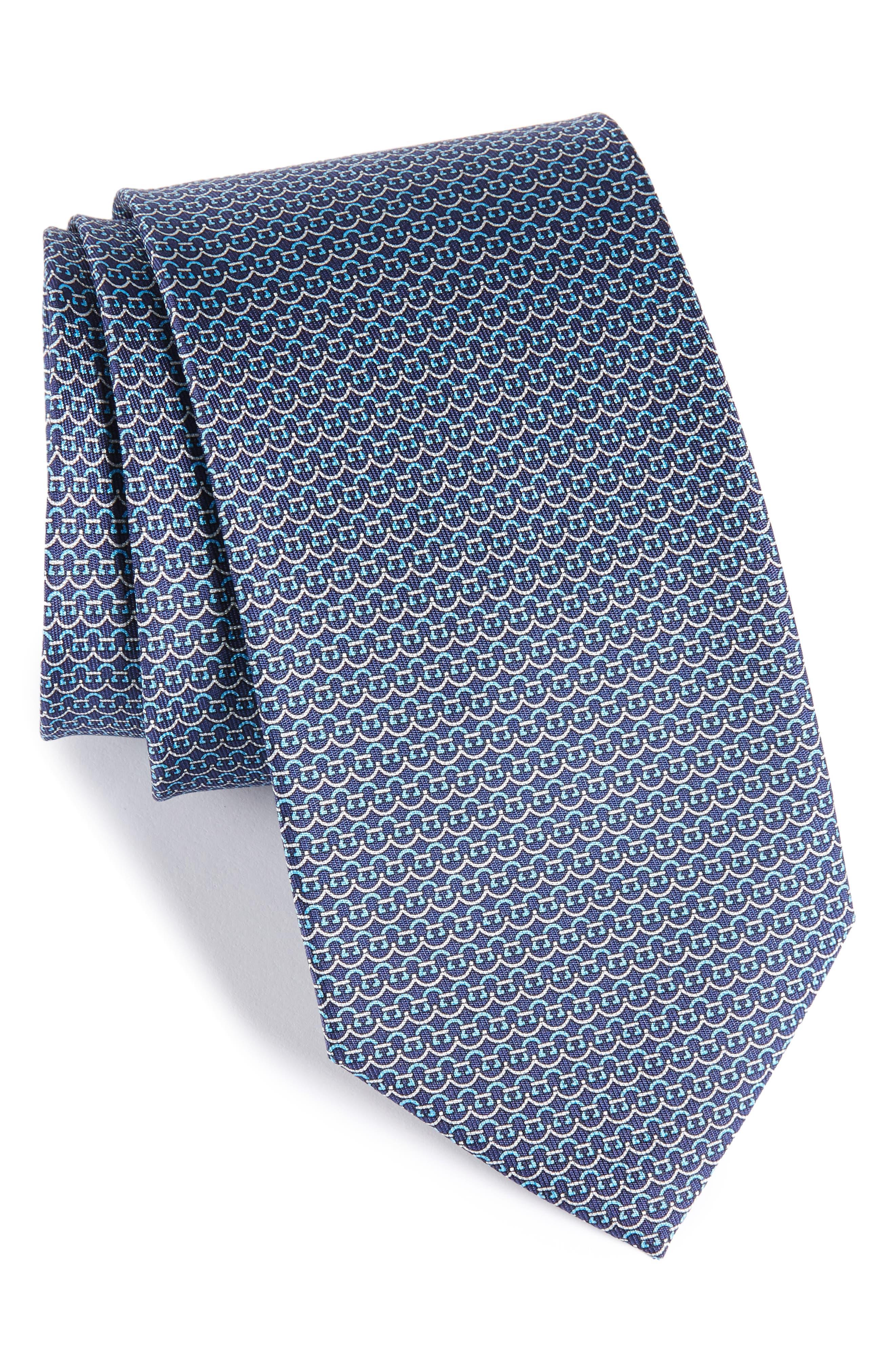 Gancini Silk Tie,                             Main thumbnail 2, color,