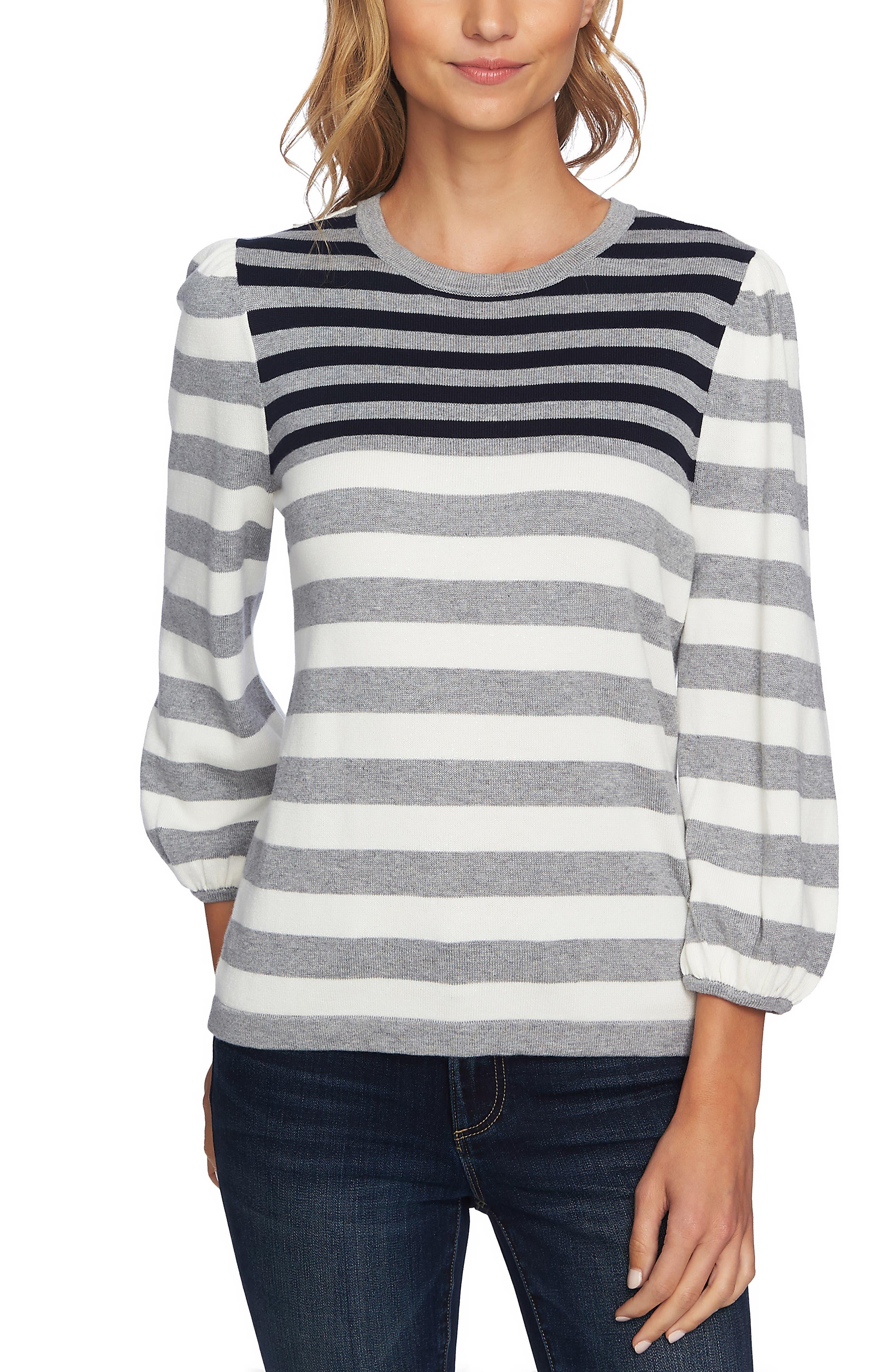 Stripe Blouson Sleeve Sweater,                             Main thumbnail 1, color,                             LIGHT HEATHER GREY