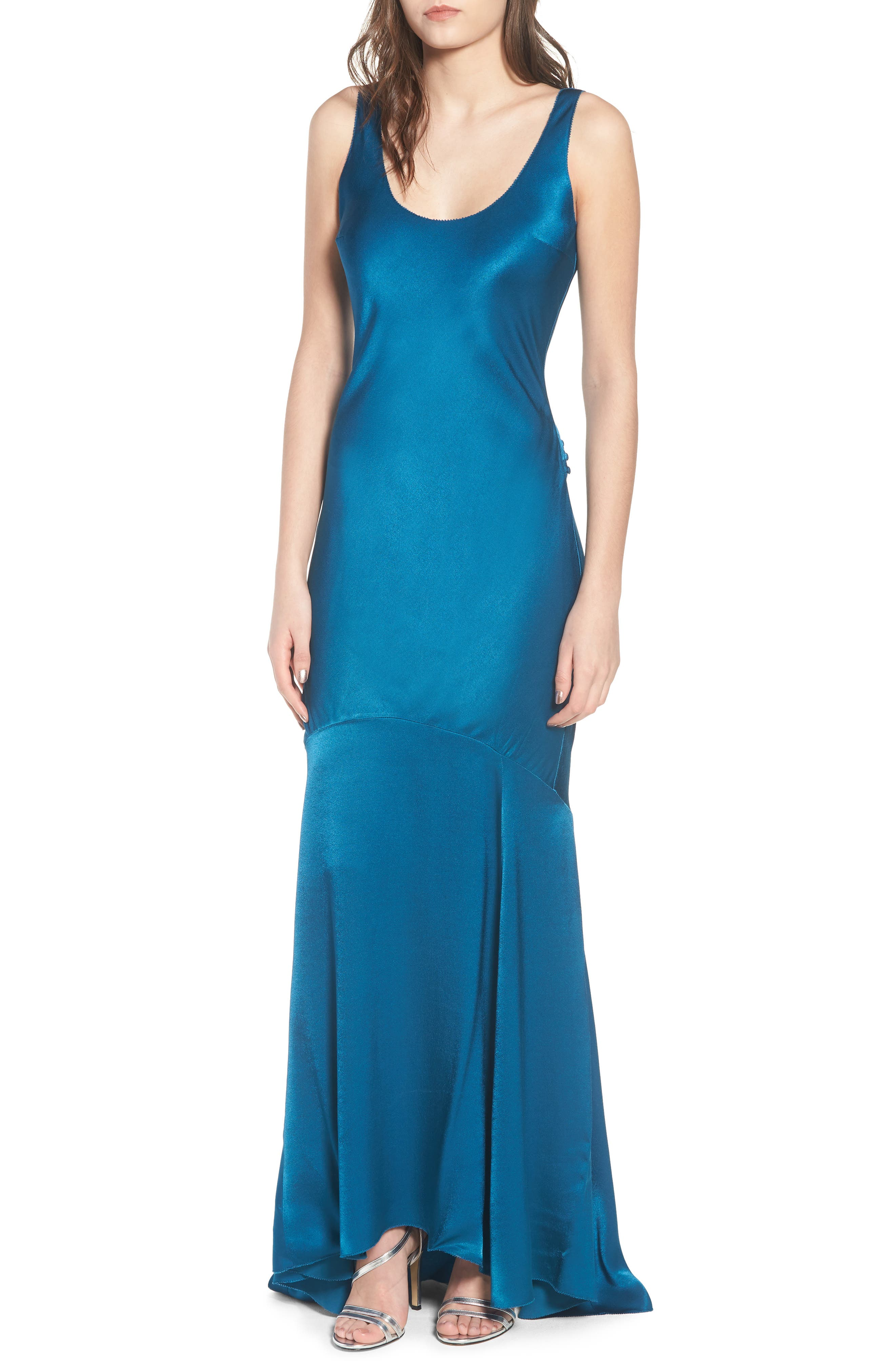 Satin Fishtail Gown,                             Alternate thumbnail 9, color,