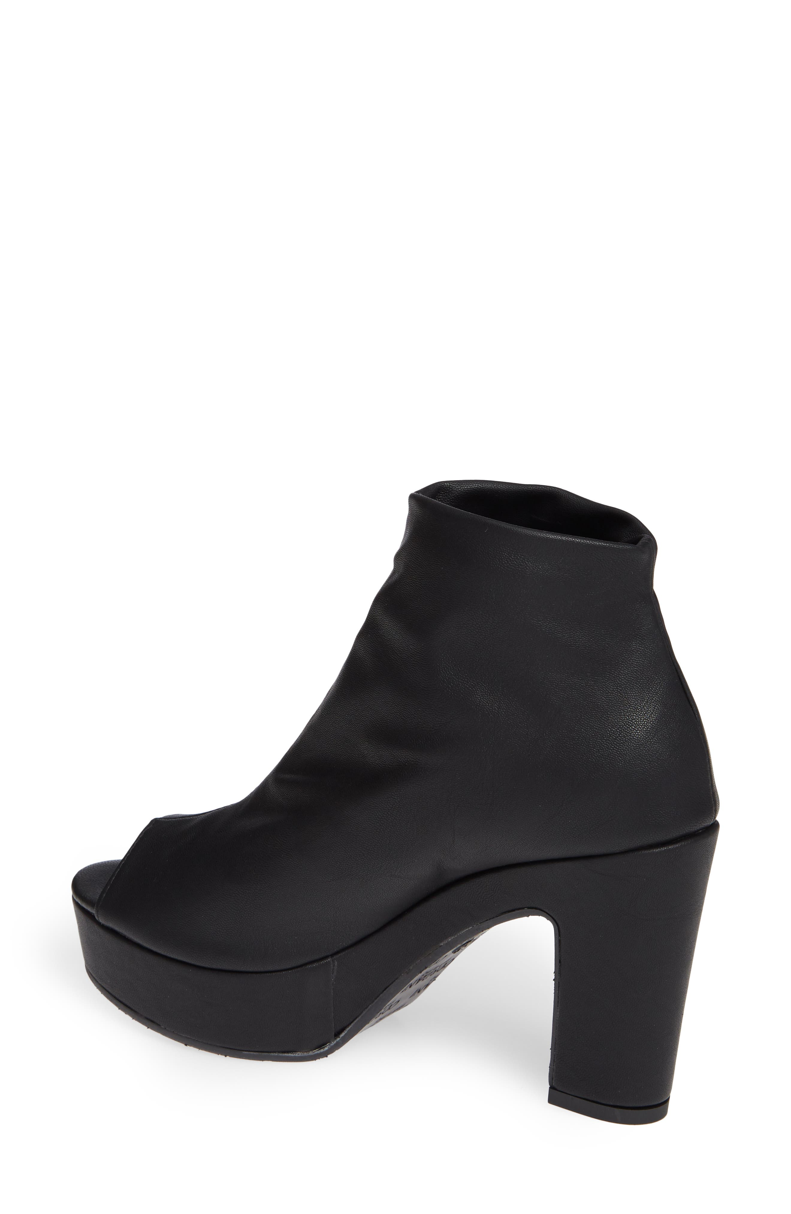 Tyra Peep Toe Platform Bootie,                             Alternate thumbnail 2, color,                             BLACK FABRIC
